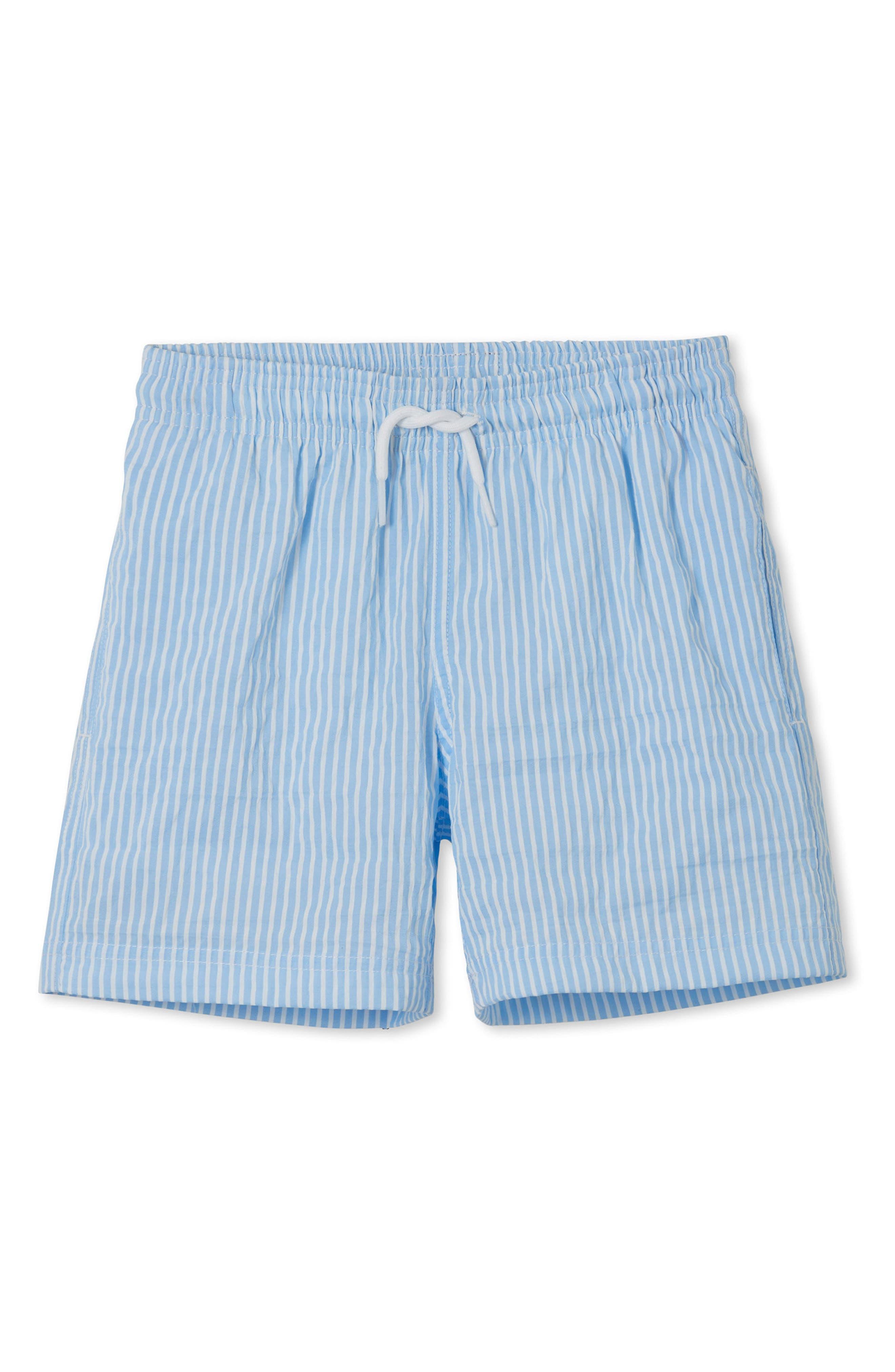 Blue Stripe Swim Trunks,                             Main thumbnail 1, color,                             Blue