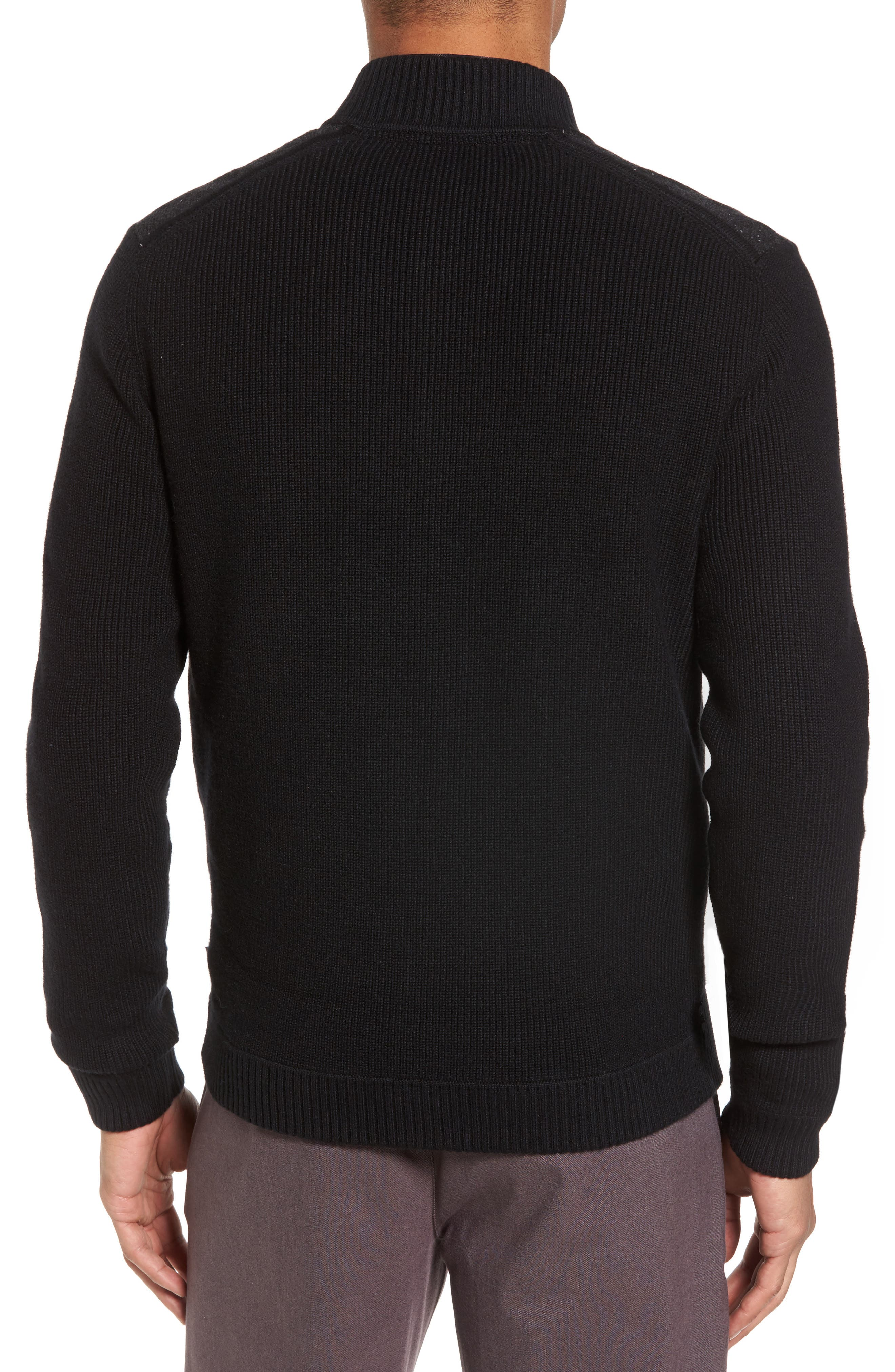 Herringbone Bomber Jacket,                             Alternate thumbnail 2, color,                             Black