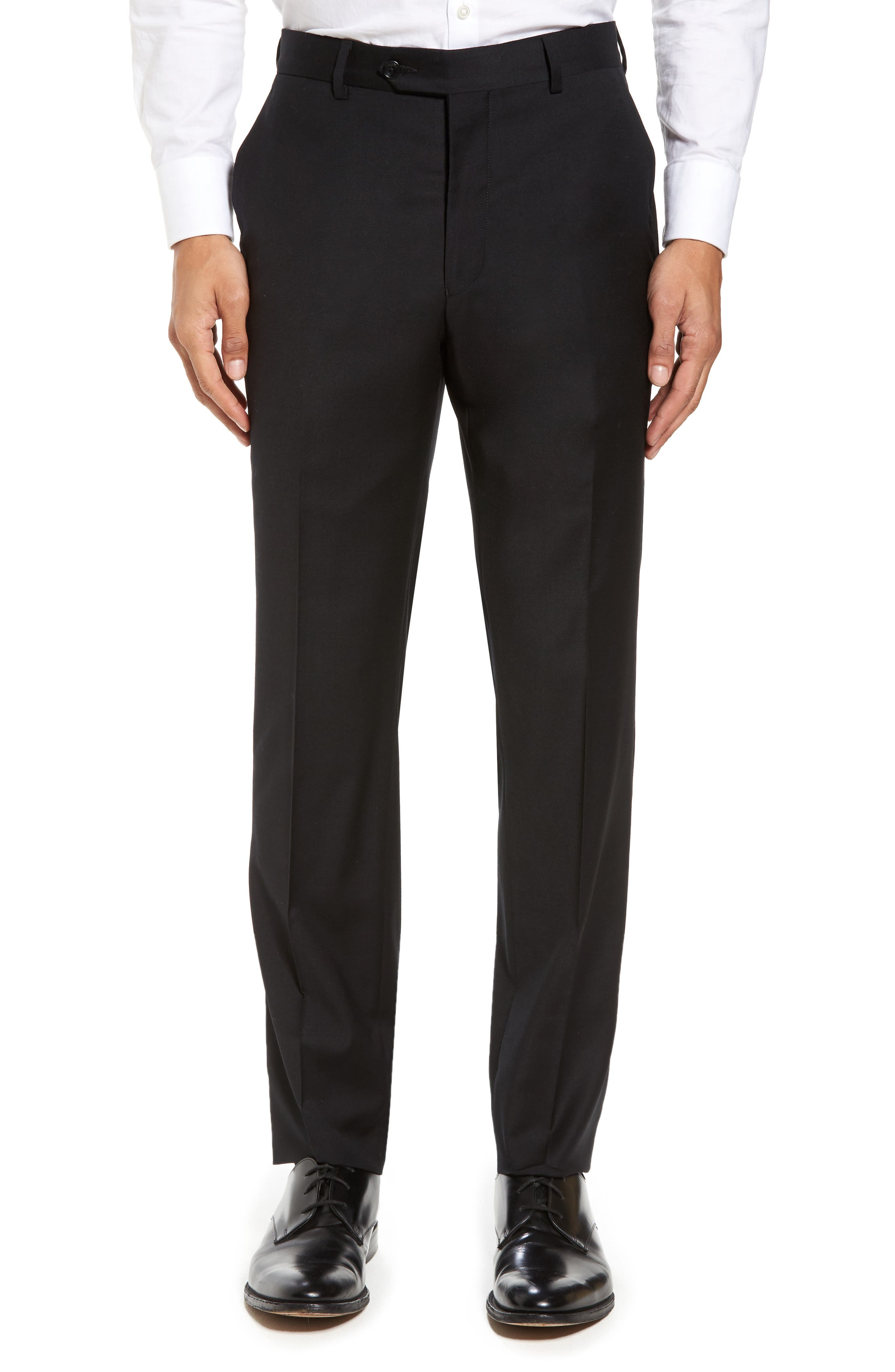Flat Front Stretch Solid Wool Trousers,                             Main thumbnail 1, color,                             Black