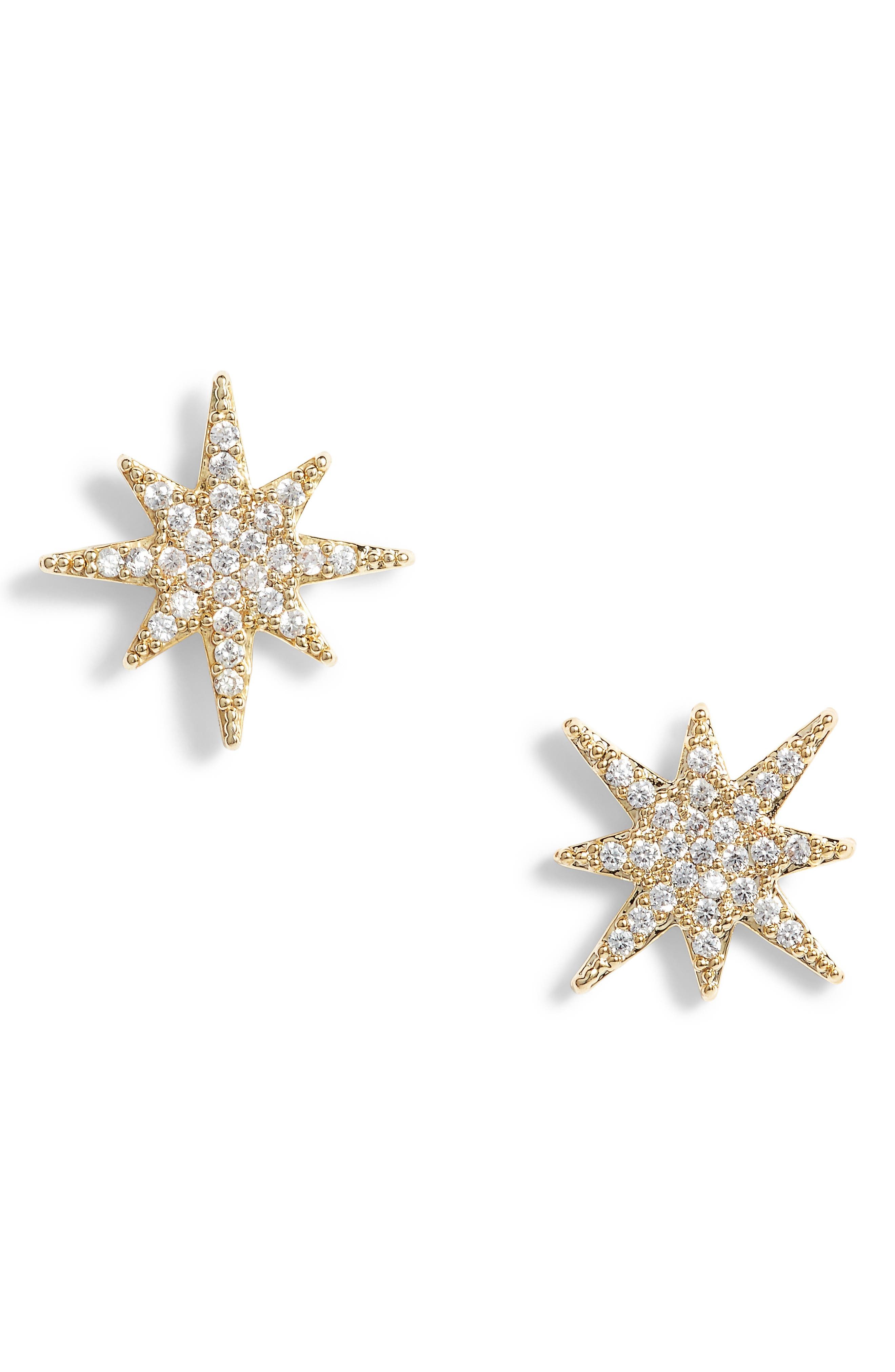 Small Starburst Crystal Earrings,                         Main,                         color, Gold