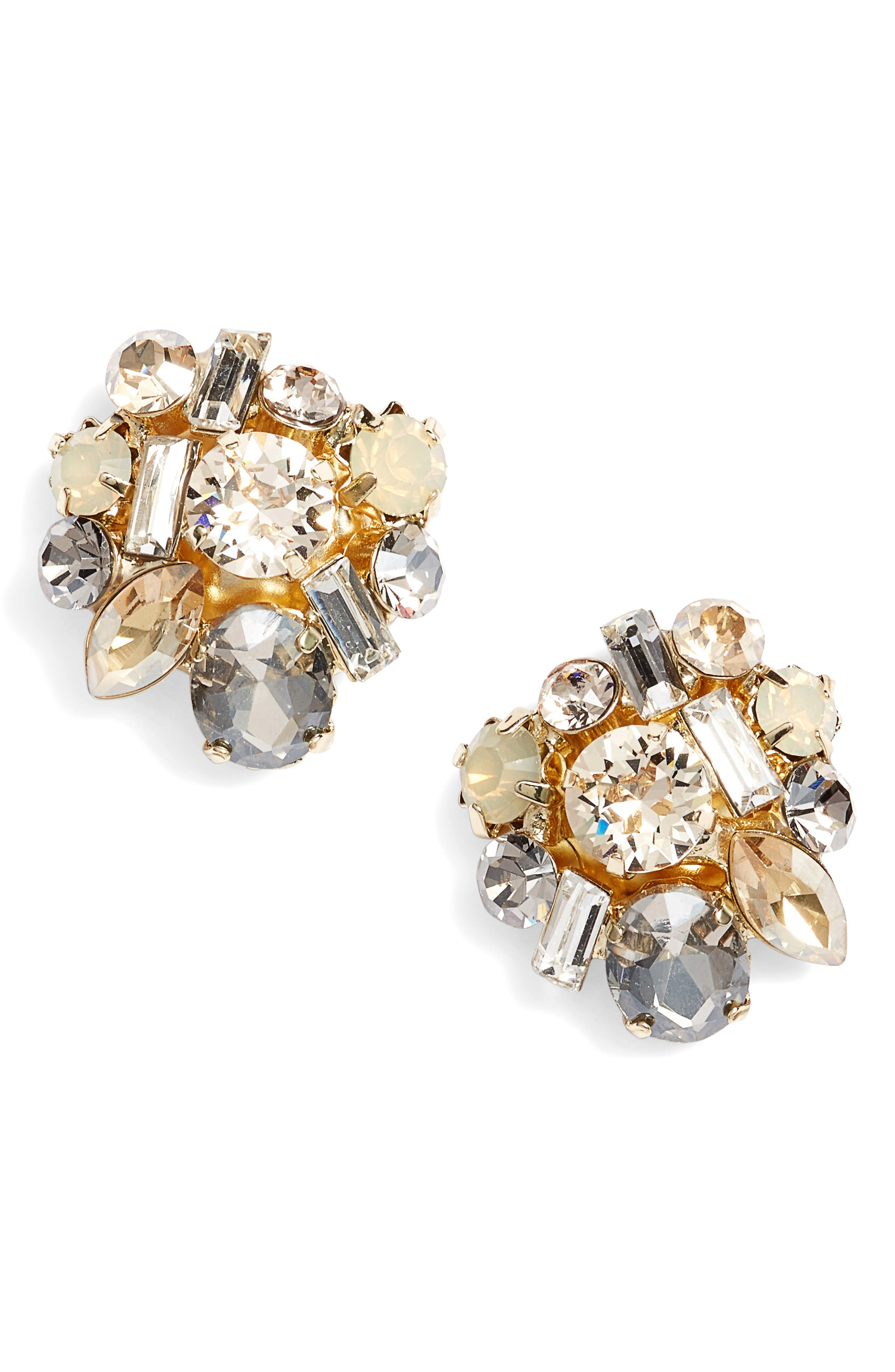 Crystal Cluster Earrings,                         Main,                         color, Gold