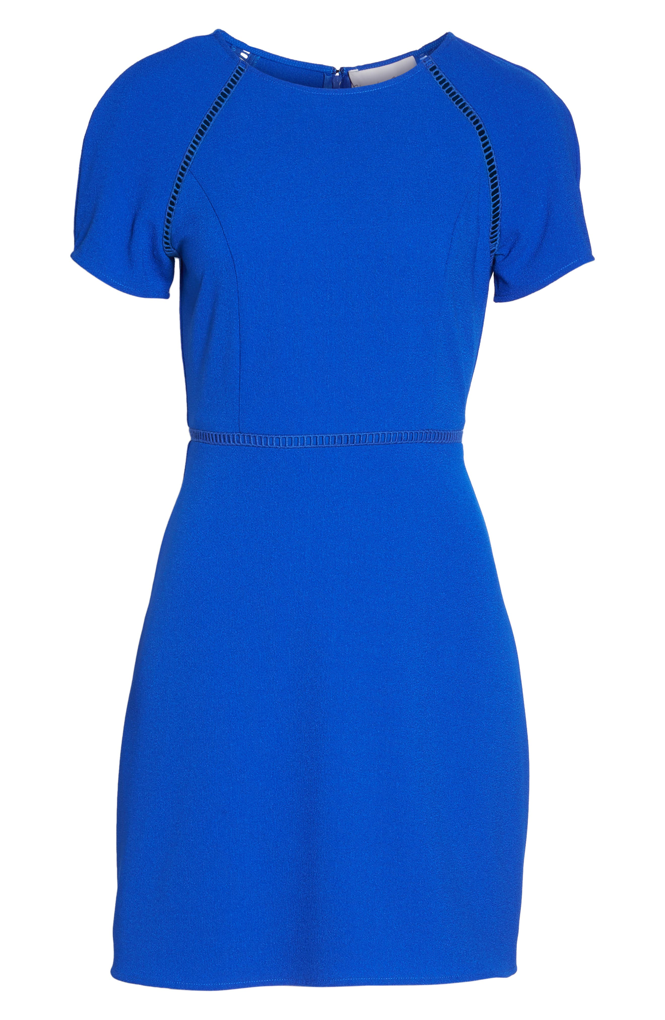 Lace Inset Fit & Flare Dress,                             Alternate thumbnail 6, color,                             Royal