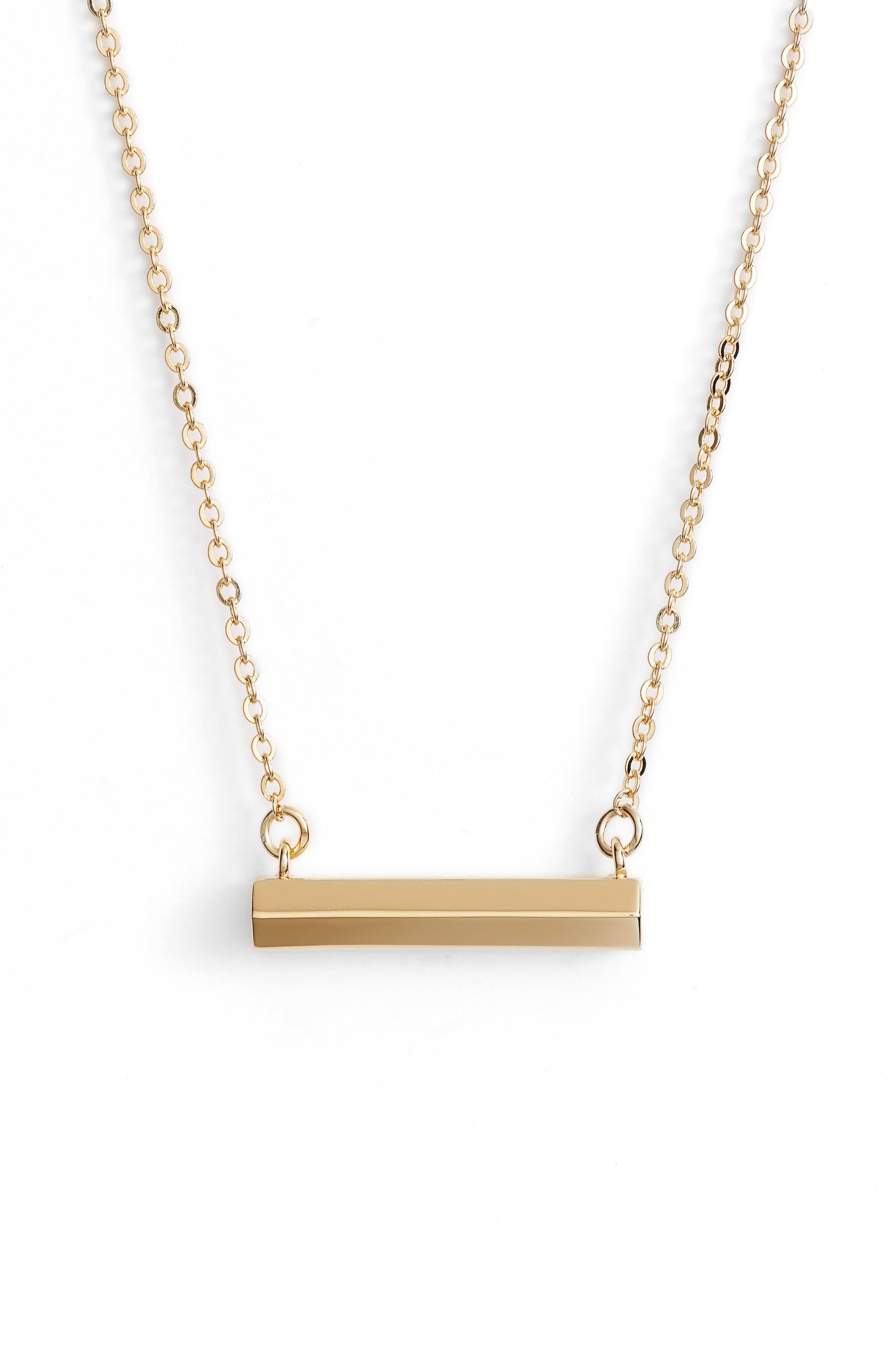 Hexagon Shaped Bar Pendant Necklace,                             Main thumbnail 1, color,                             Gold