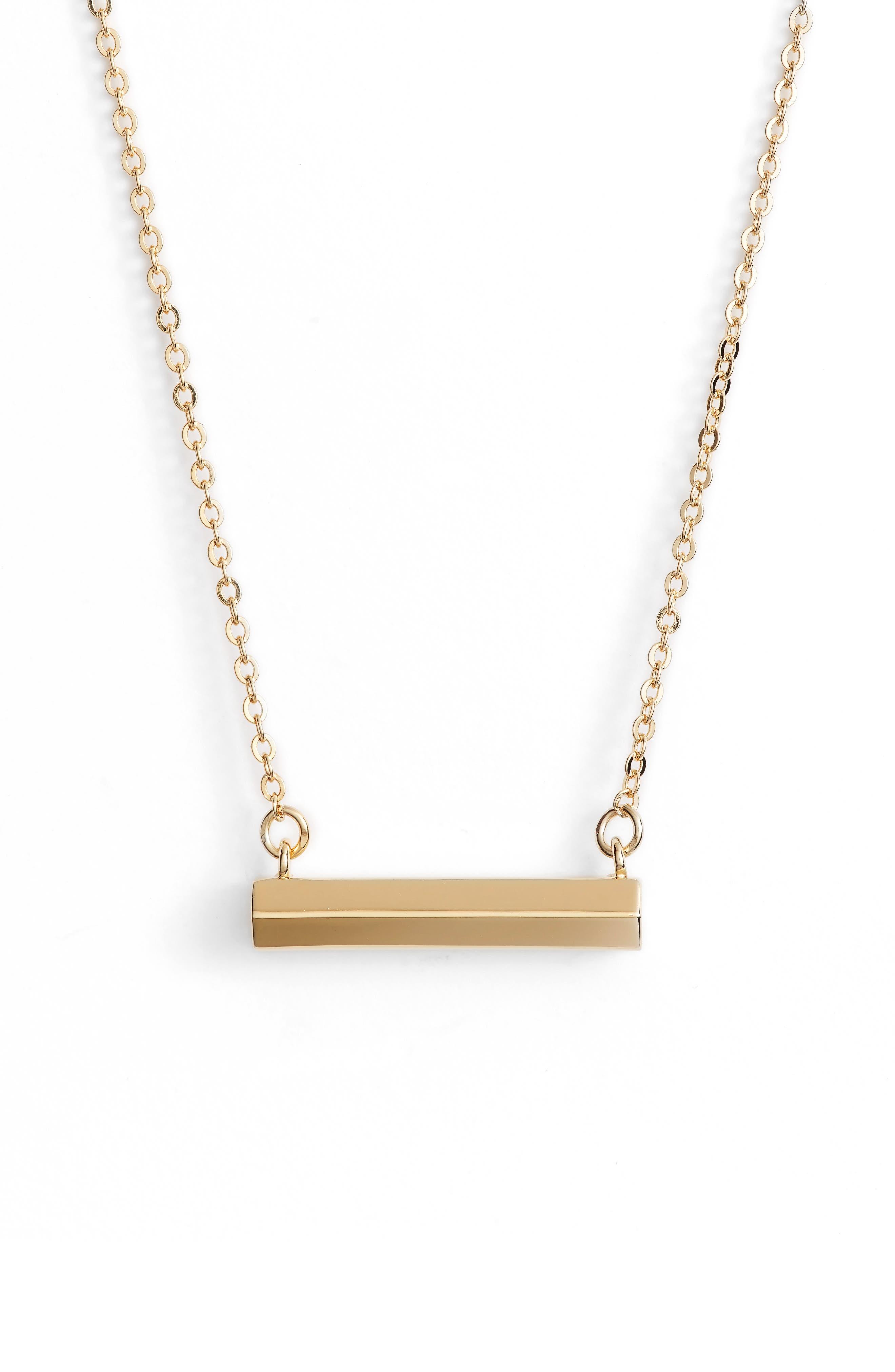 Hexagon Shaped Bar Pendant Necklace,                         Main,                         color, Gold