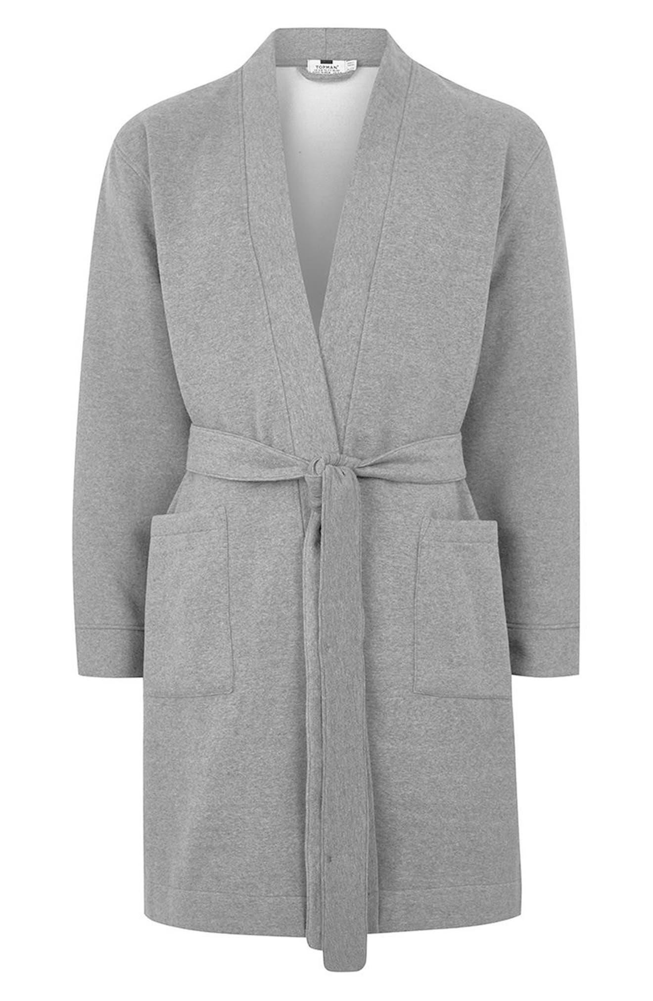 Jersey Robe,                             Alternate thumbnail 4, color,                             Grey