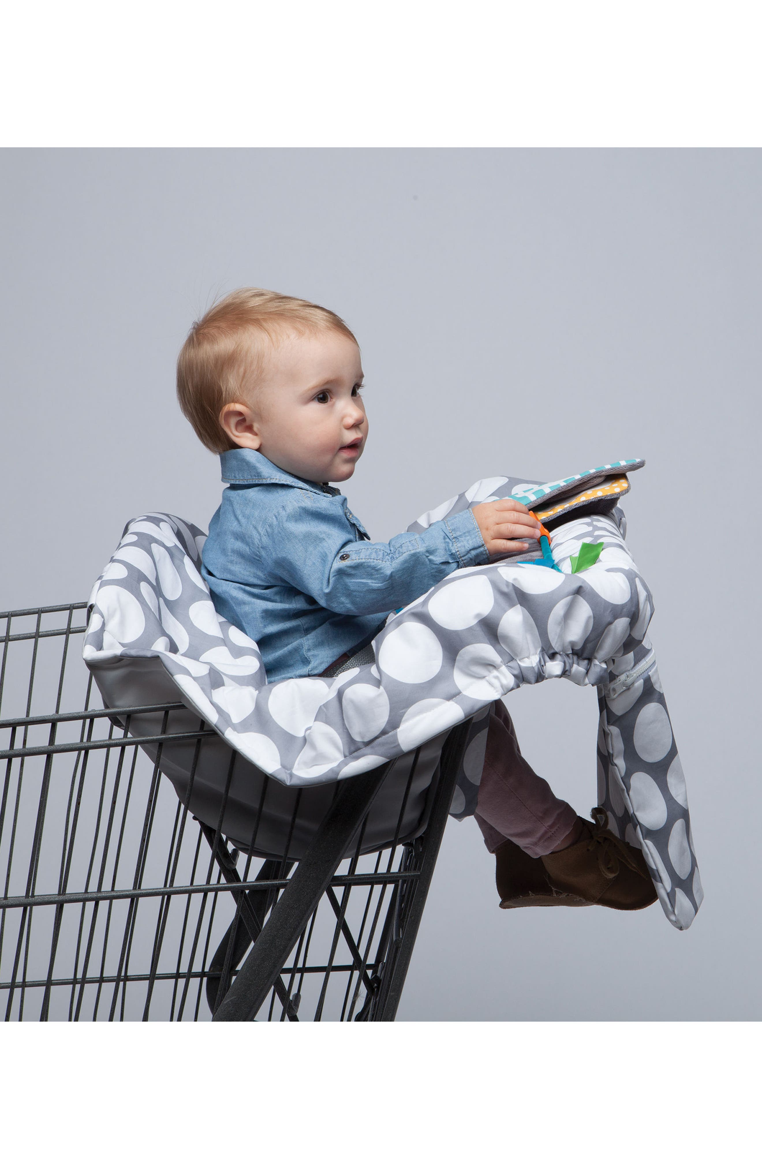 Luxe Shopping Cart Cover,                             Alternate thumbnail 4, color,                             Jumbo Dots Gray