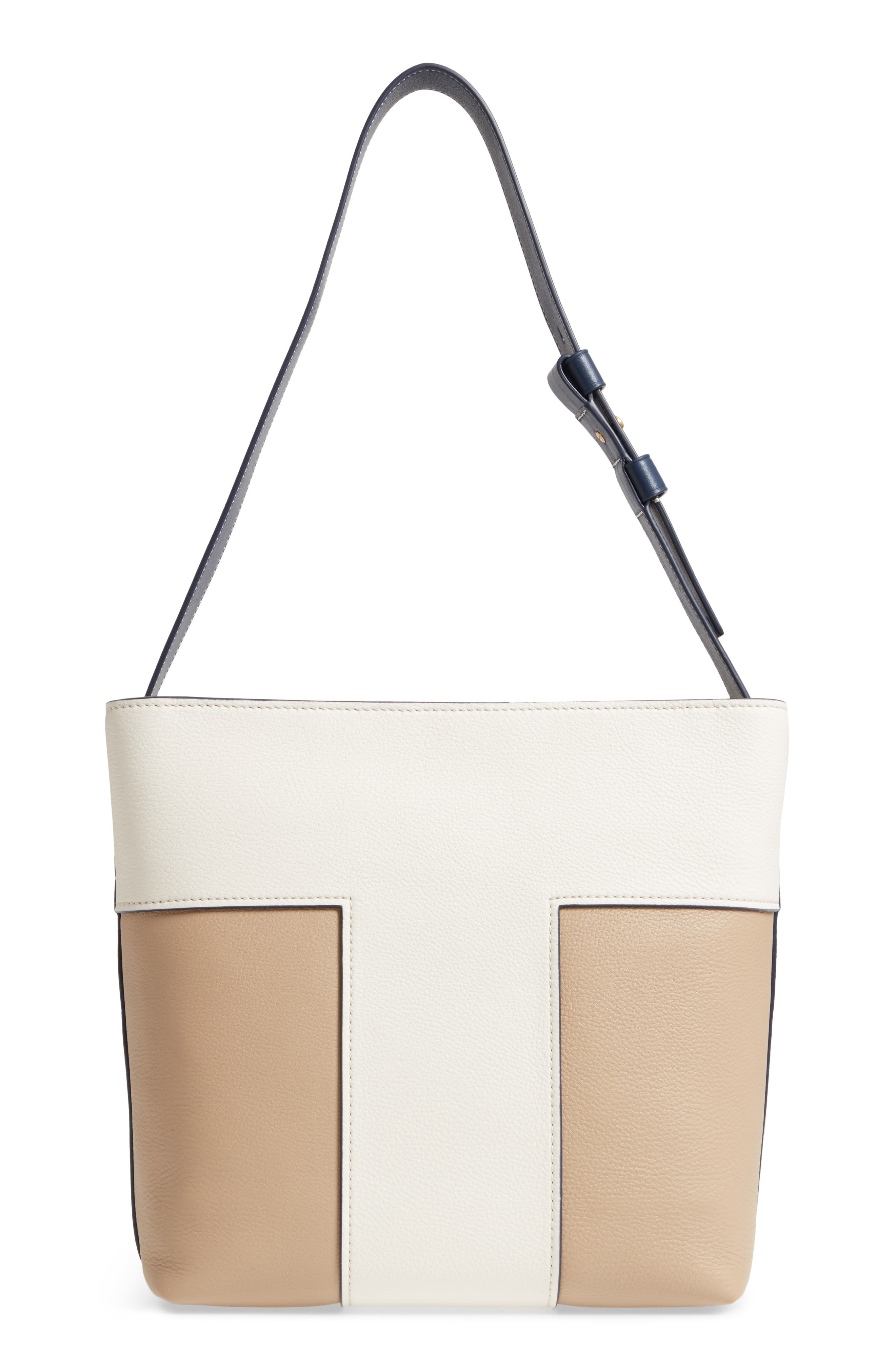 Block-T Bicolor Pebbled Leather Hobo,                             Alternate thumbnail 3, color,                             New Ivory/ Savannah