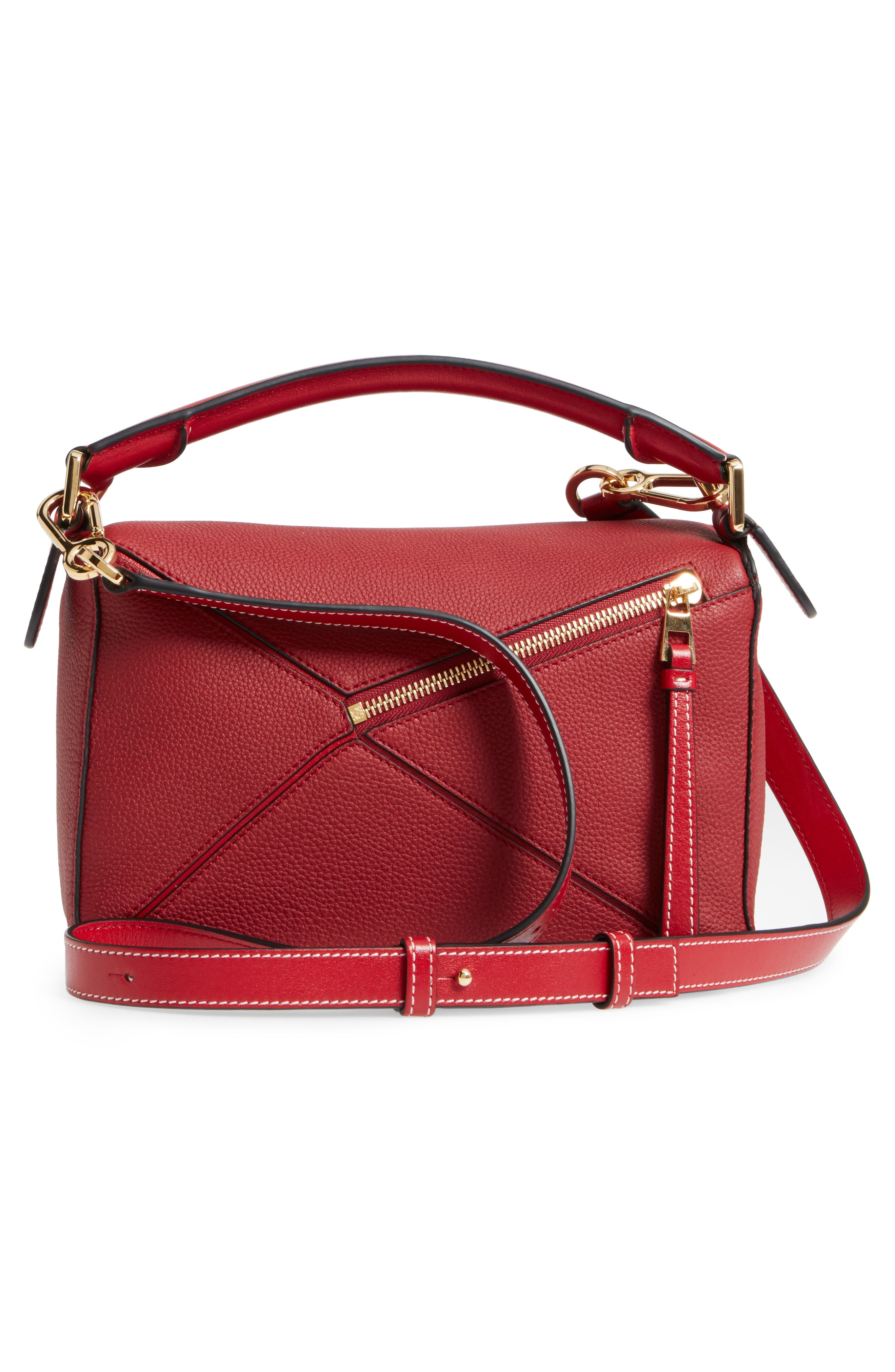 Small Puzzle Leather Shoulder Bag,                             Alternate thumbnail 3, color,                             Rouge
