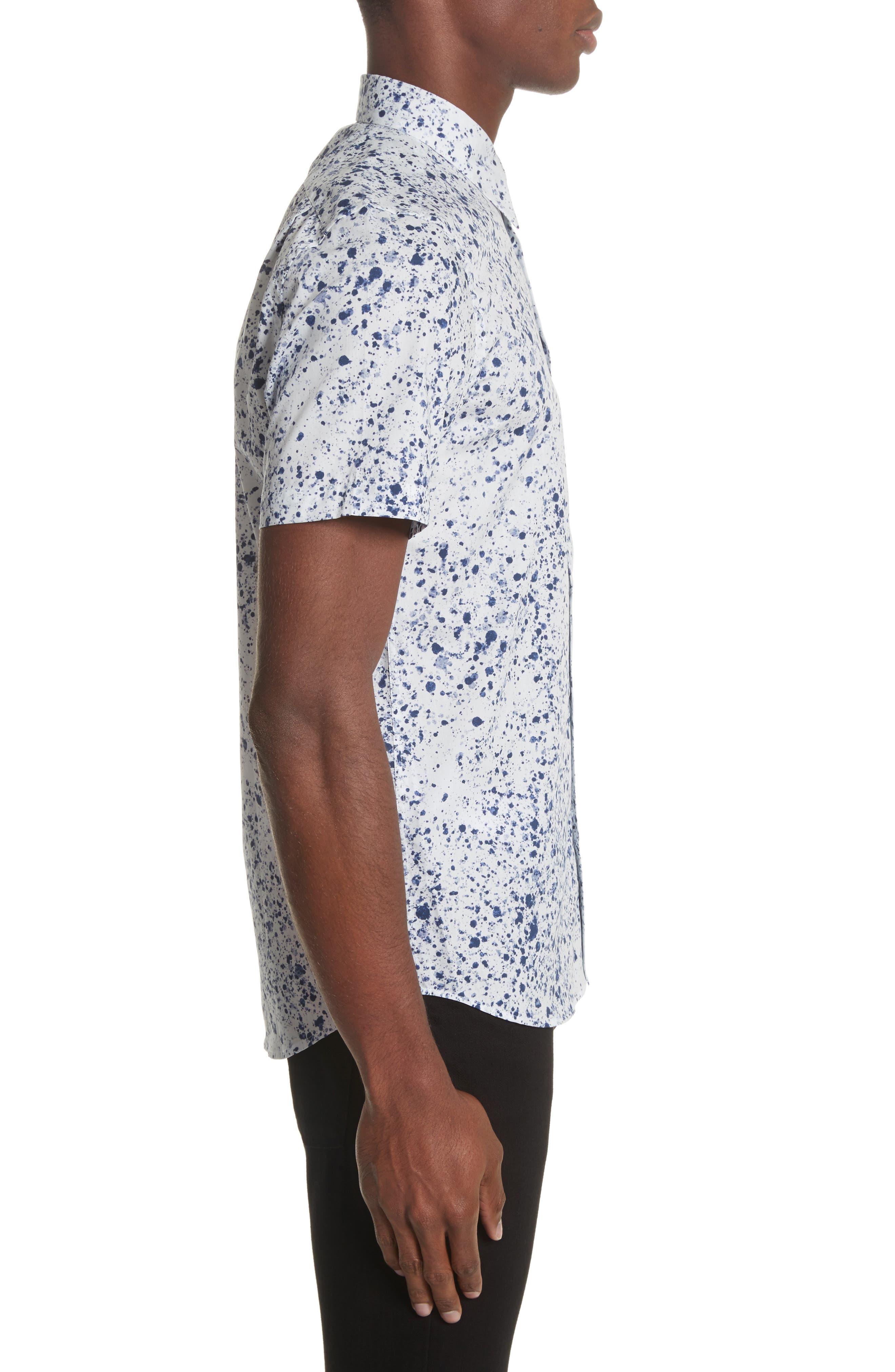 Splatter Print Shirt,                             Alternate thumbnail 4, color,                             White