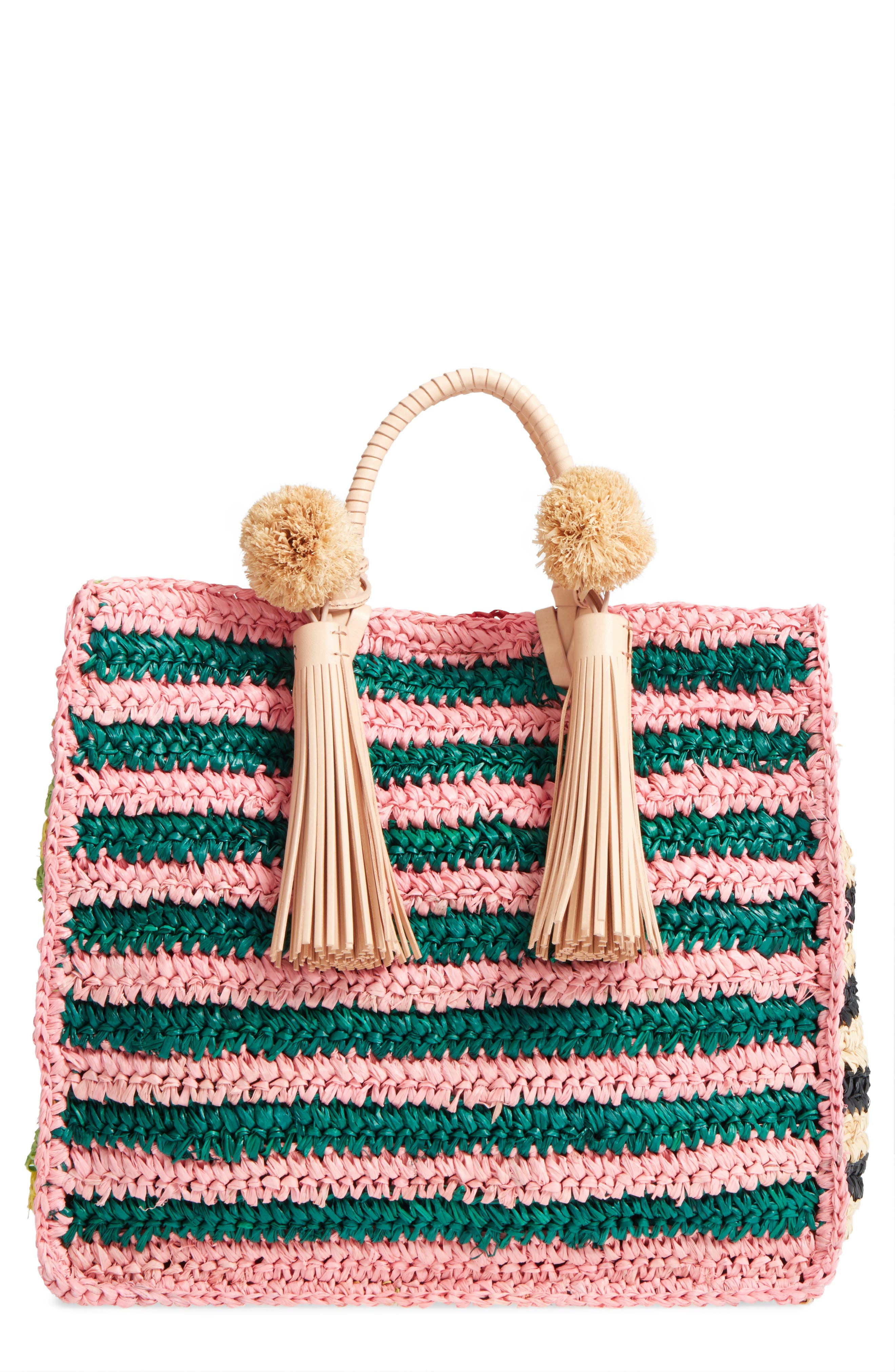 Straw Travel Tote,                         Main,                         color, Rainbow