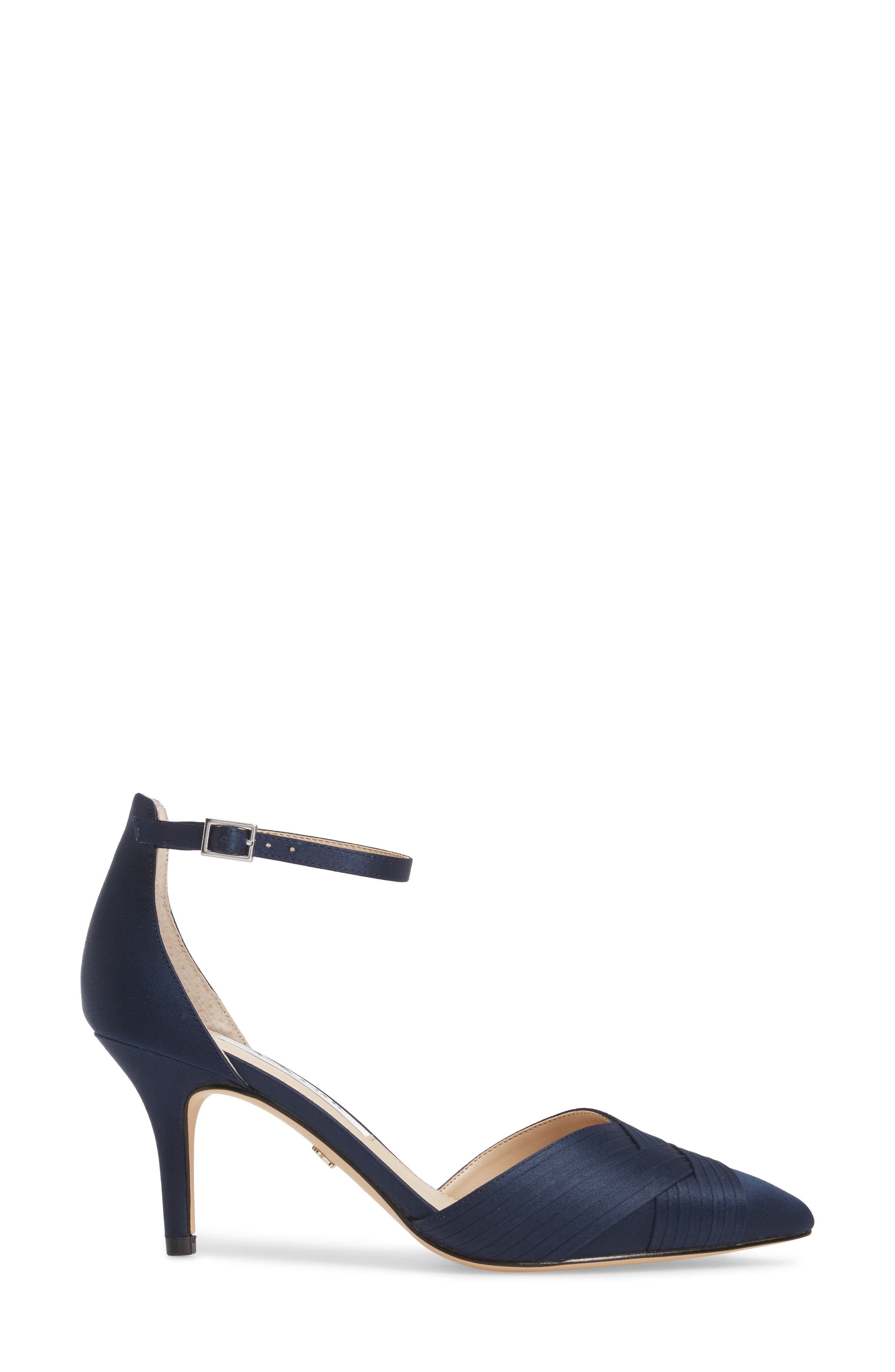 Teriann Ankle Strap Pump,                             Alternate thumbnail 3, color,                             Navy Satin