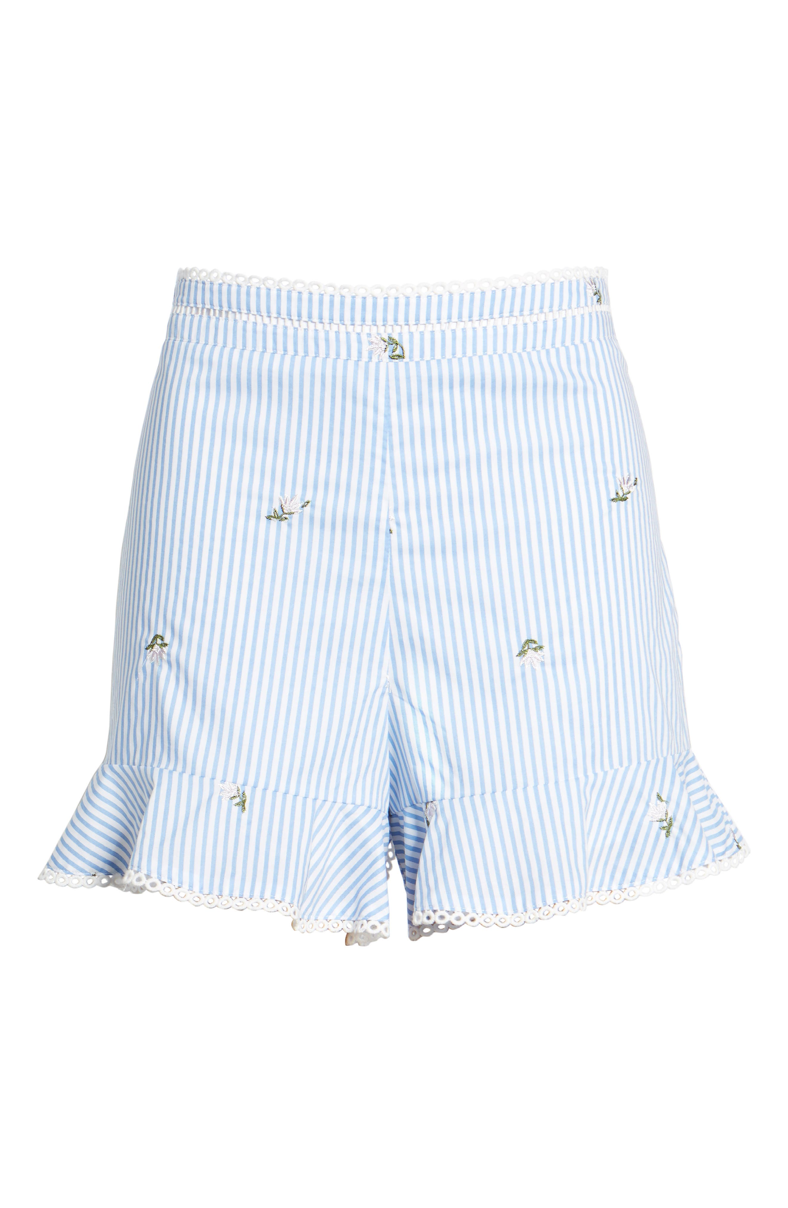 Embroidered Shorts,                             Alternate thumbnail 6, color,                             Blue/ Ivory Stripe