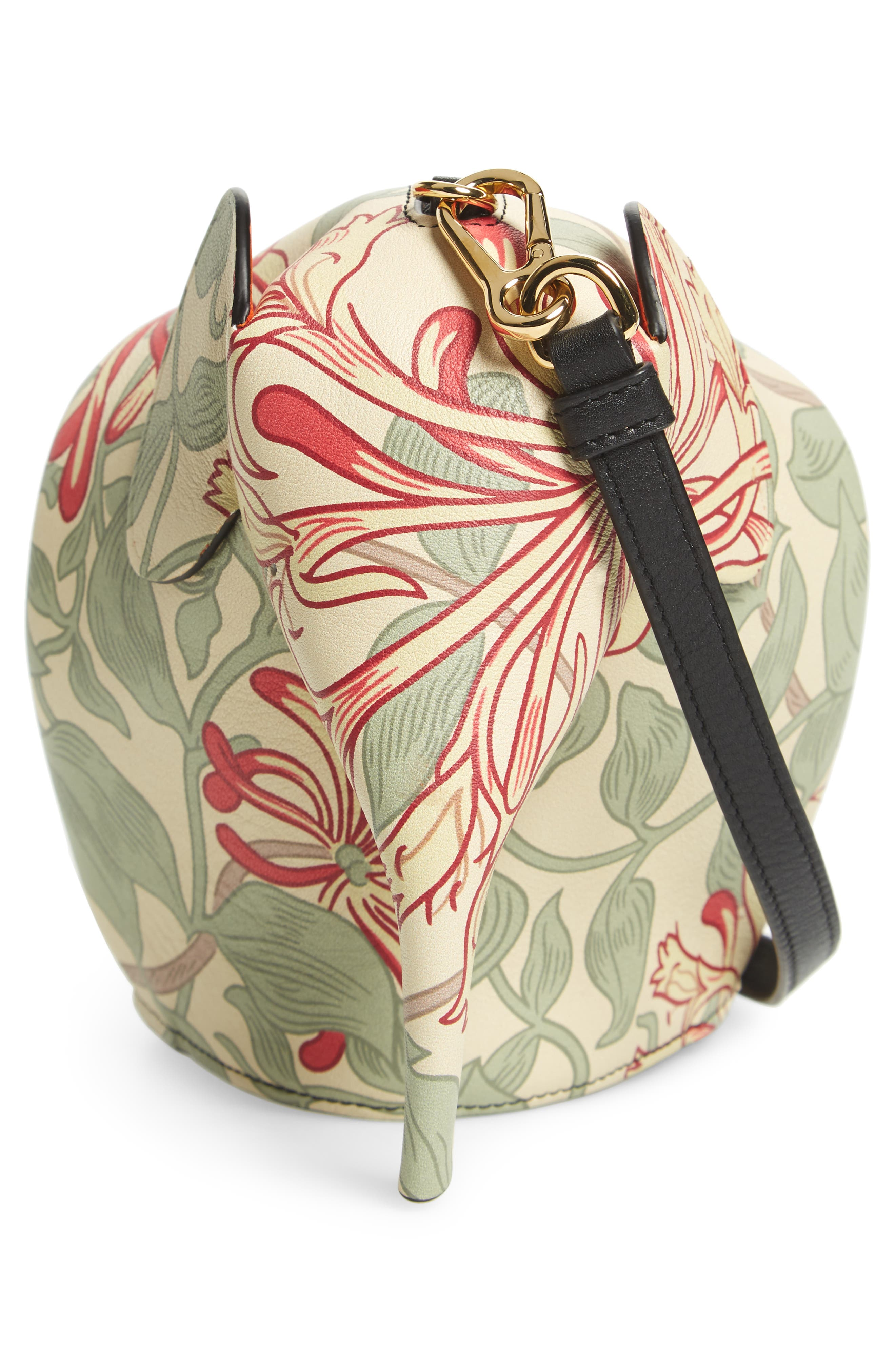 Mini Elephant Honeysuckle Print Leather Crossbody Bag,                             Alternate thumbnail 6, color,                             Beige/ Green/ Multicolour