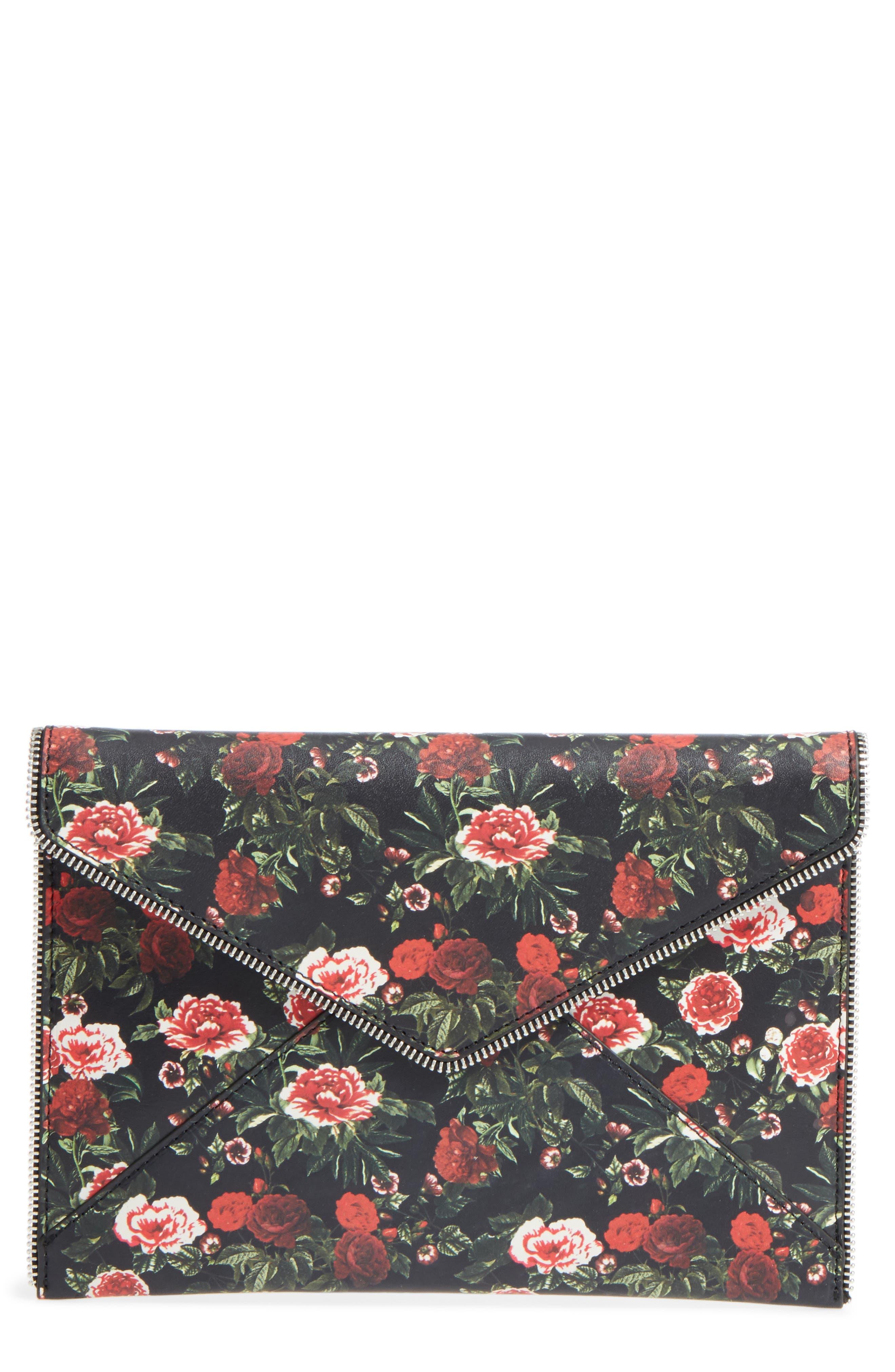 Rebecca Minkoff Floral Print Leather Leo Clutch