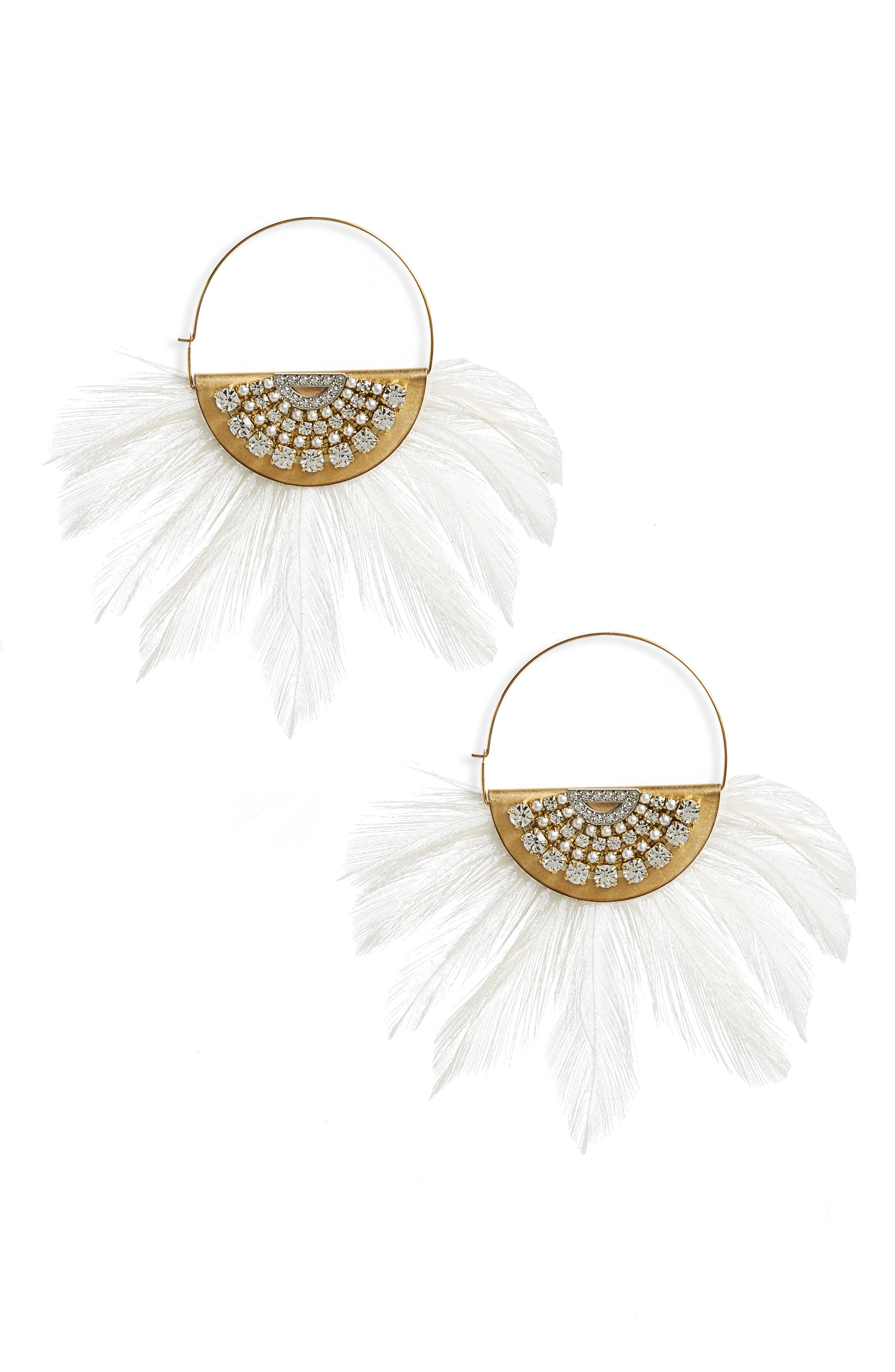 Embellished Feather Hoop Earrings,                             Main thumbnail 1, color,                             White/ Gold