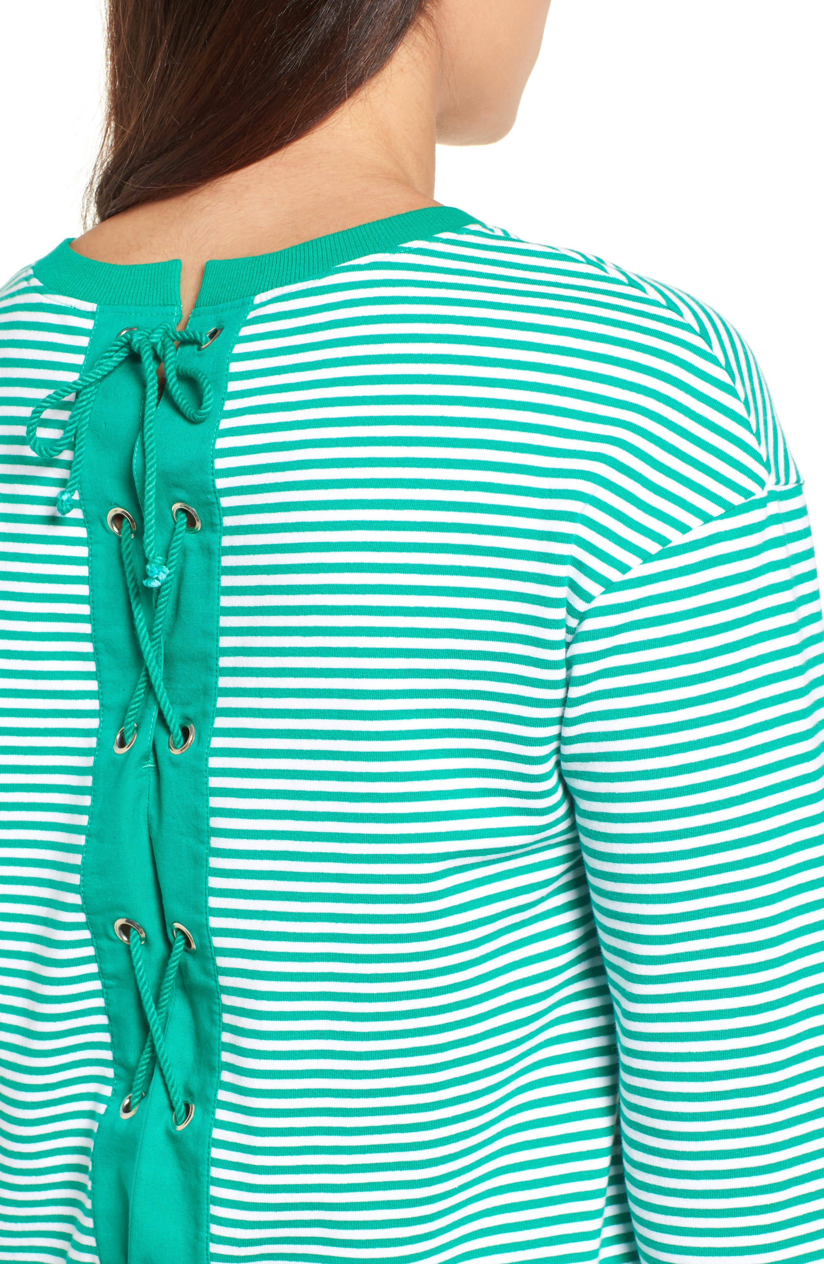 Lace-Up Knit Top,                             Alternate thumbnail 5, color,                             Green- White Stripe