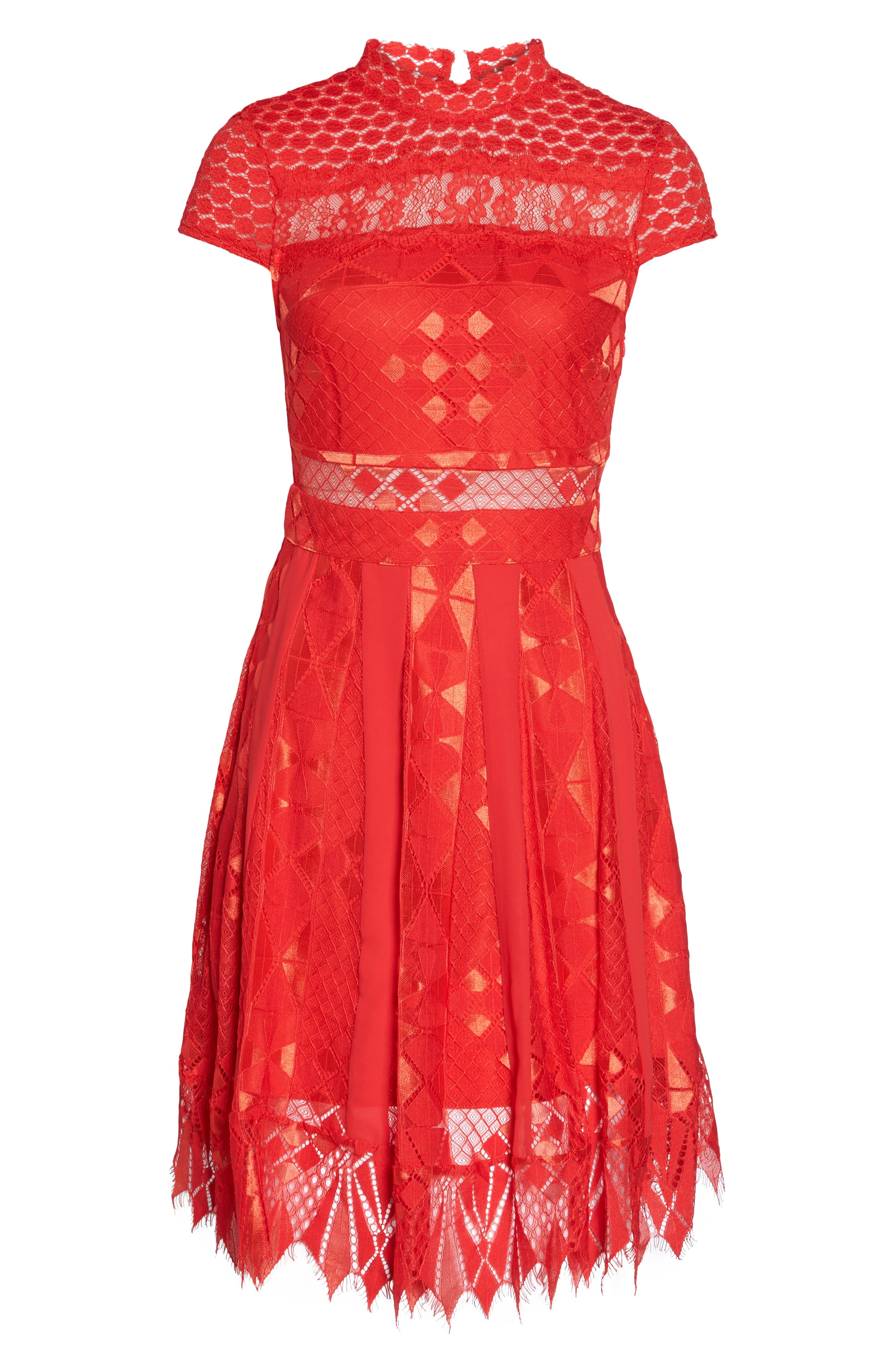 Bravo Zulu Lace Fit & Flare Dress,                             Alternate thumbnail 6, color,                             Red Blush