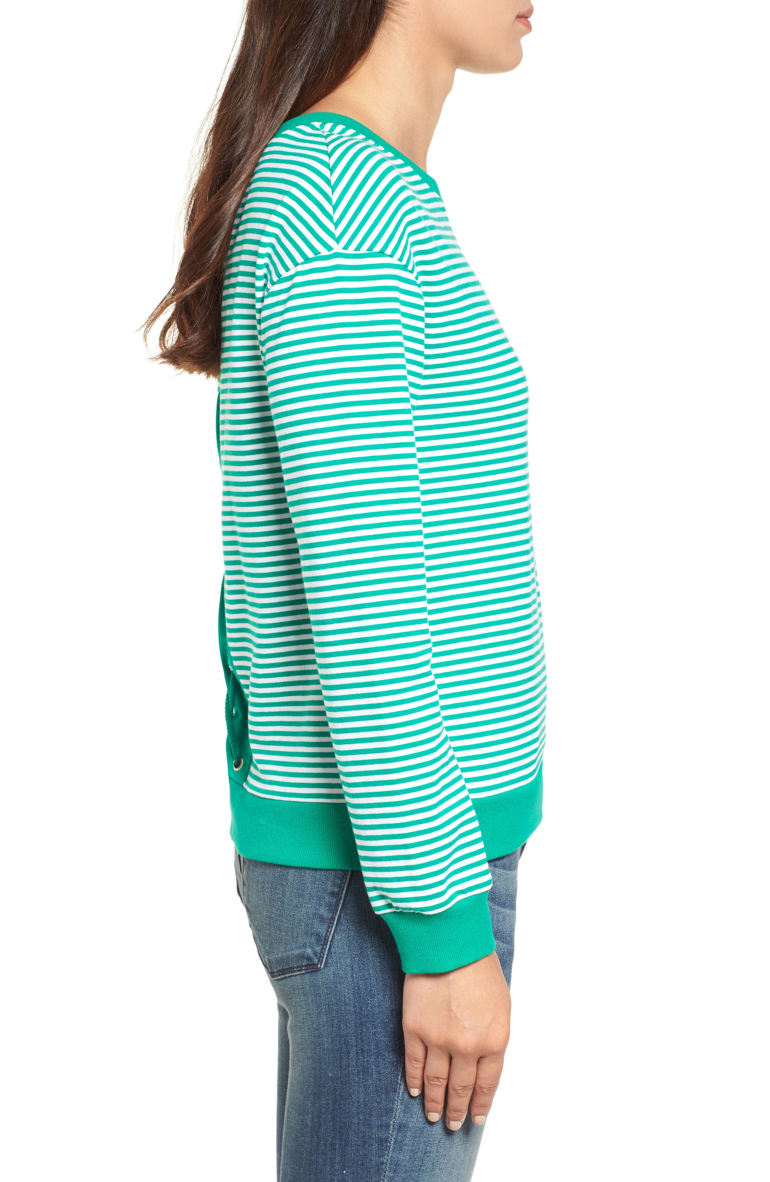 Lace-Up Knit Top,                             Alternate thumbnail 4, color,                             Green- White Stripe