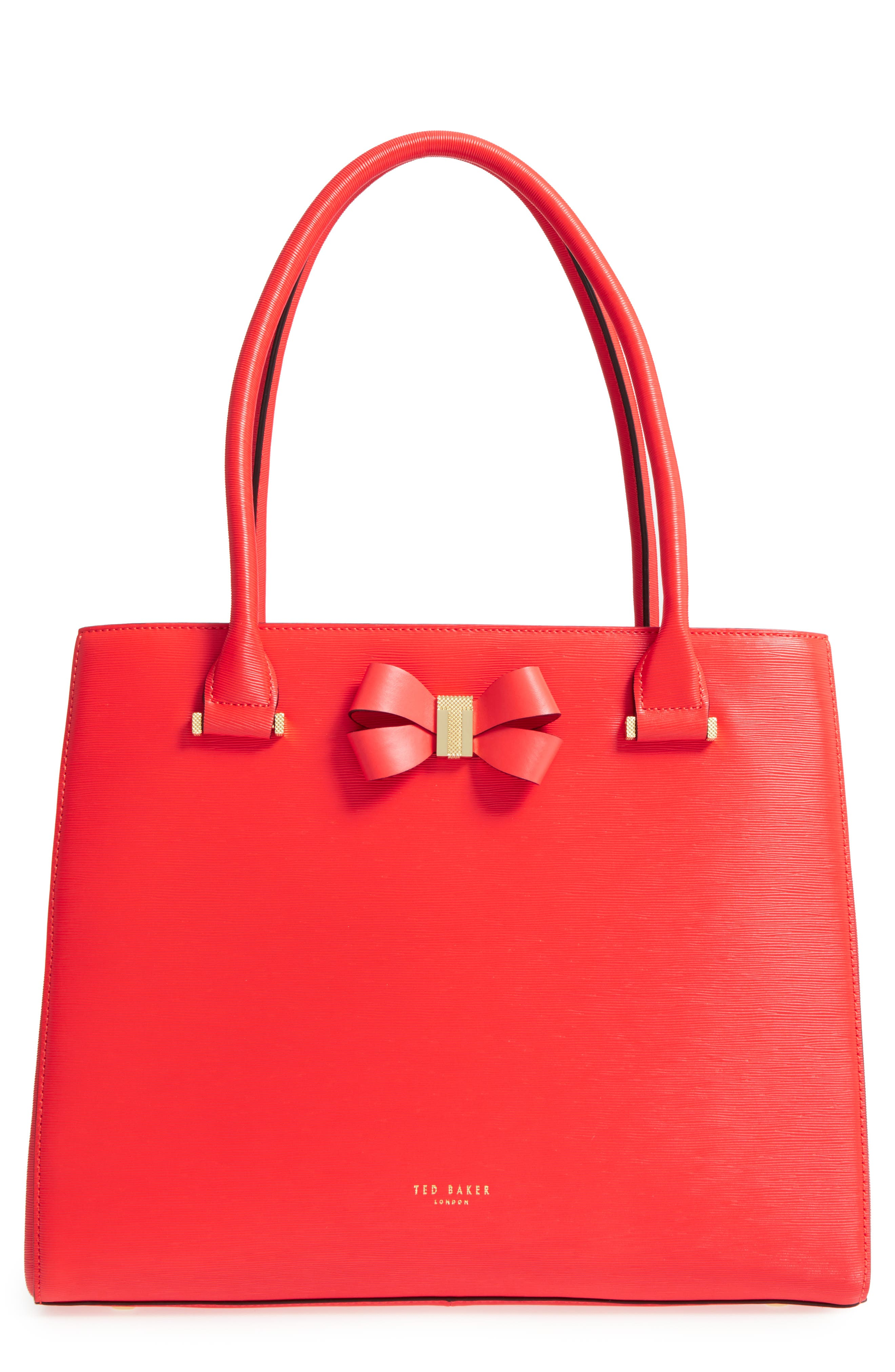 Callaa Bow Leather Shopper,                             Main thumbnail 1, color,                             Bright Red
