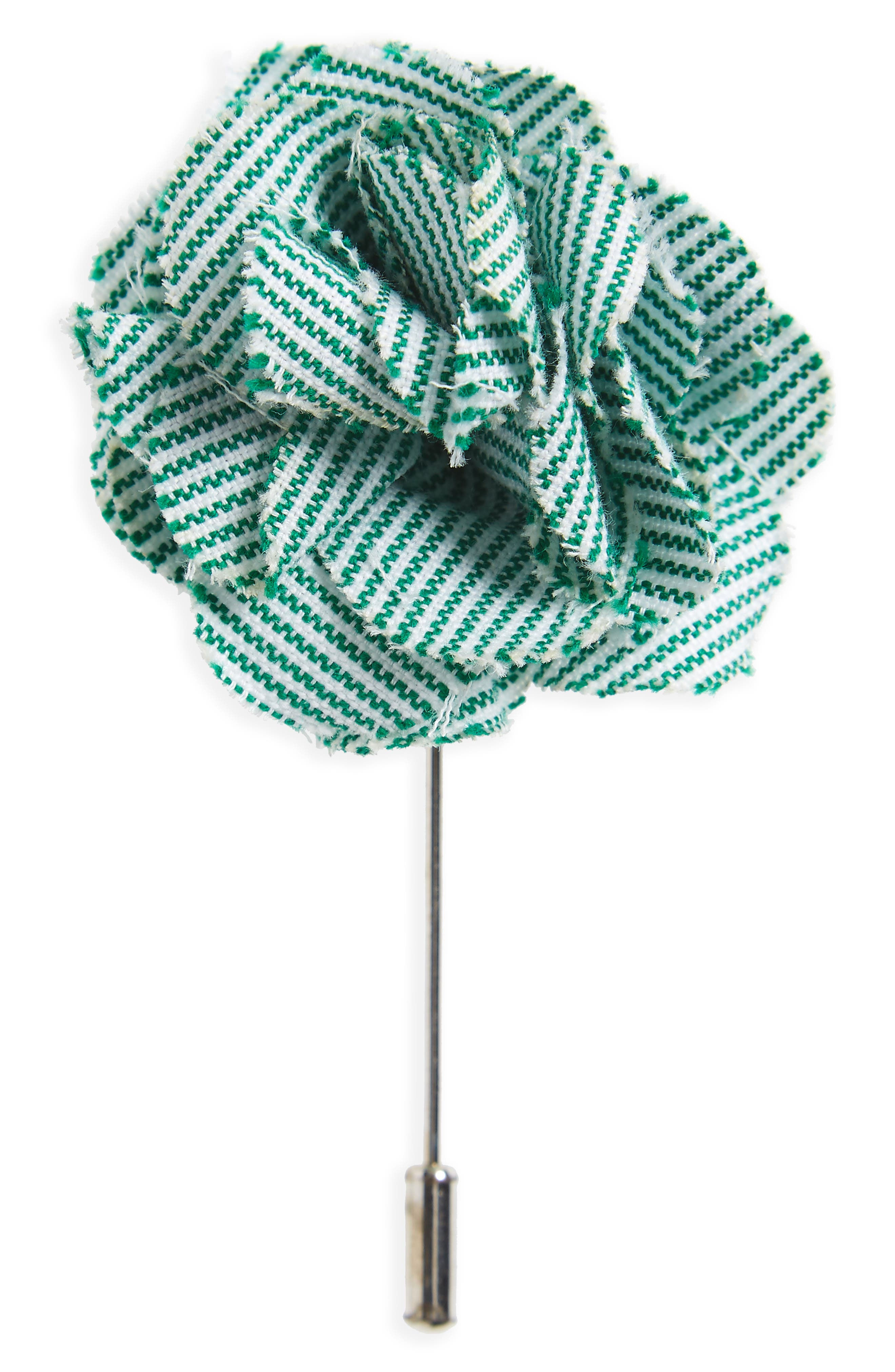 Little Stripe Cotton Lapel Flower,                         Main,                         color, Green