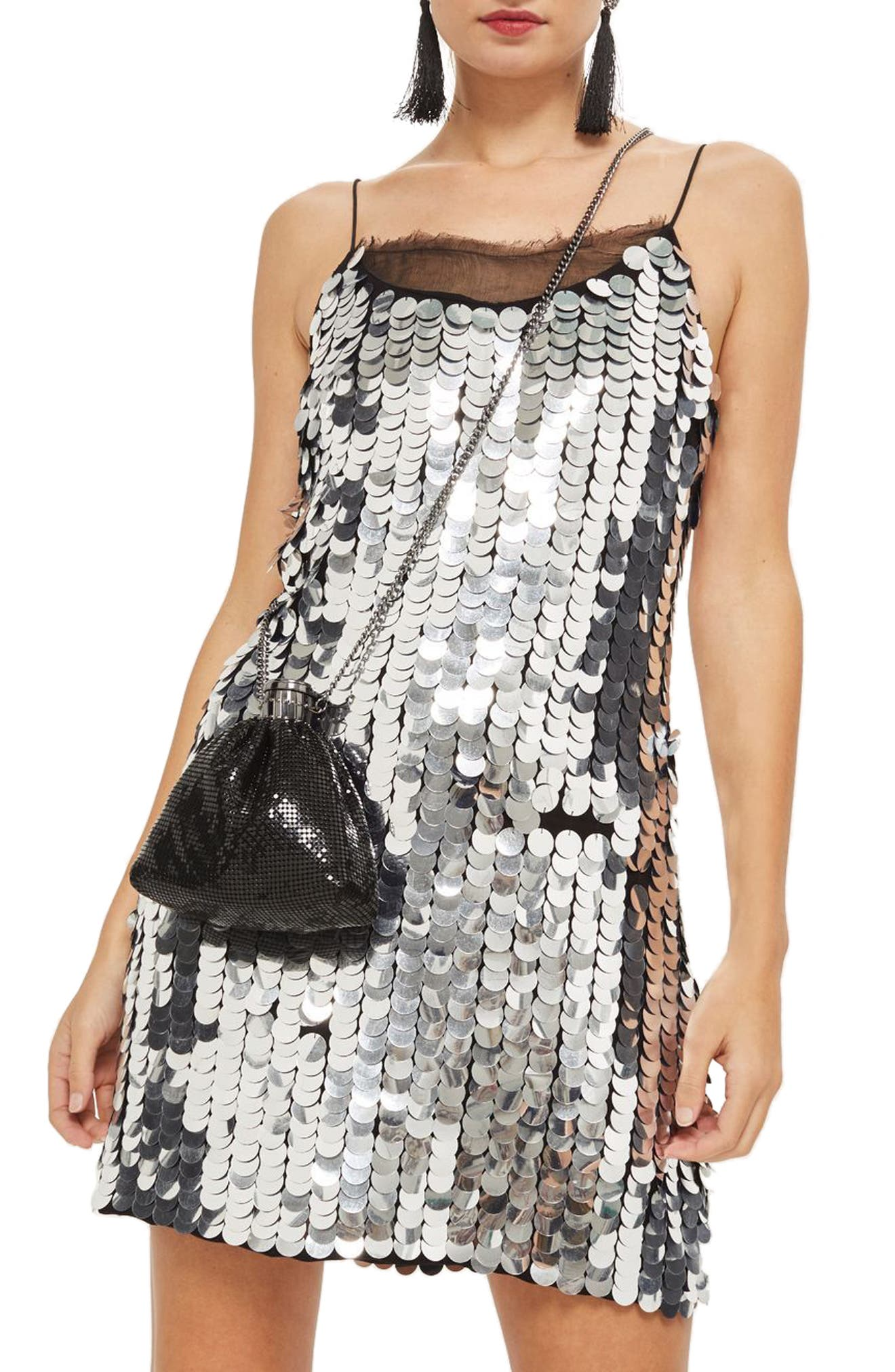 Chain Mail Pouch Crossbody Bag,                             Alternate thumbnail 2, color,                             Silver