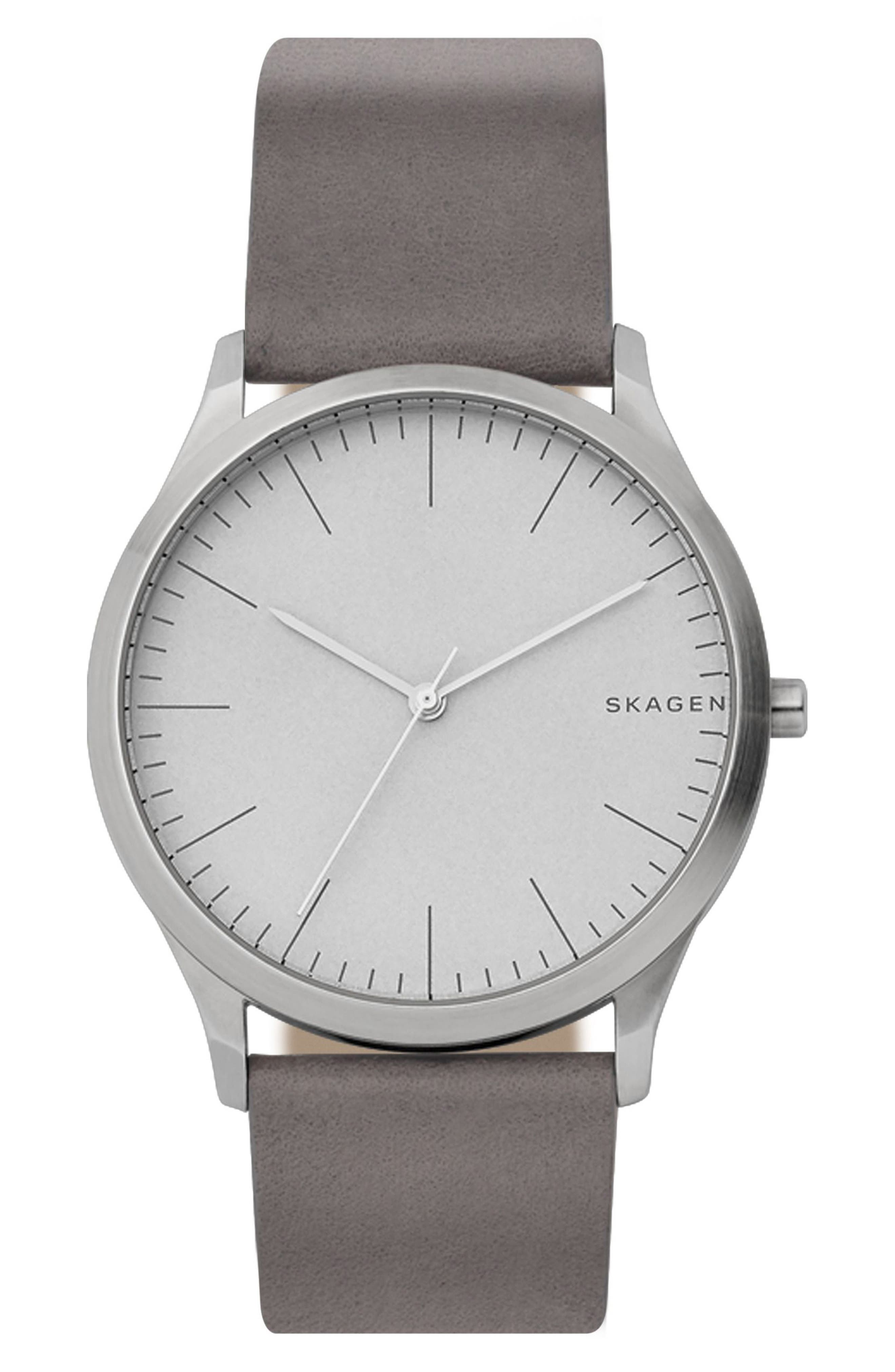 Jorn Leather Strap Watch, 41mm,                             Main thumbnail 1, color,                             Grey/ Silver