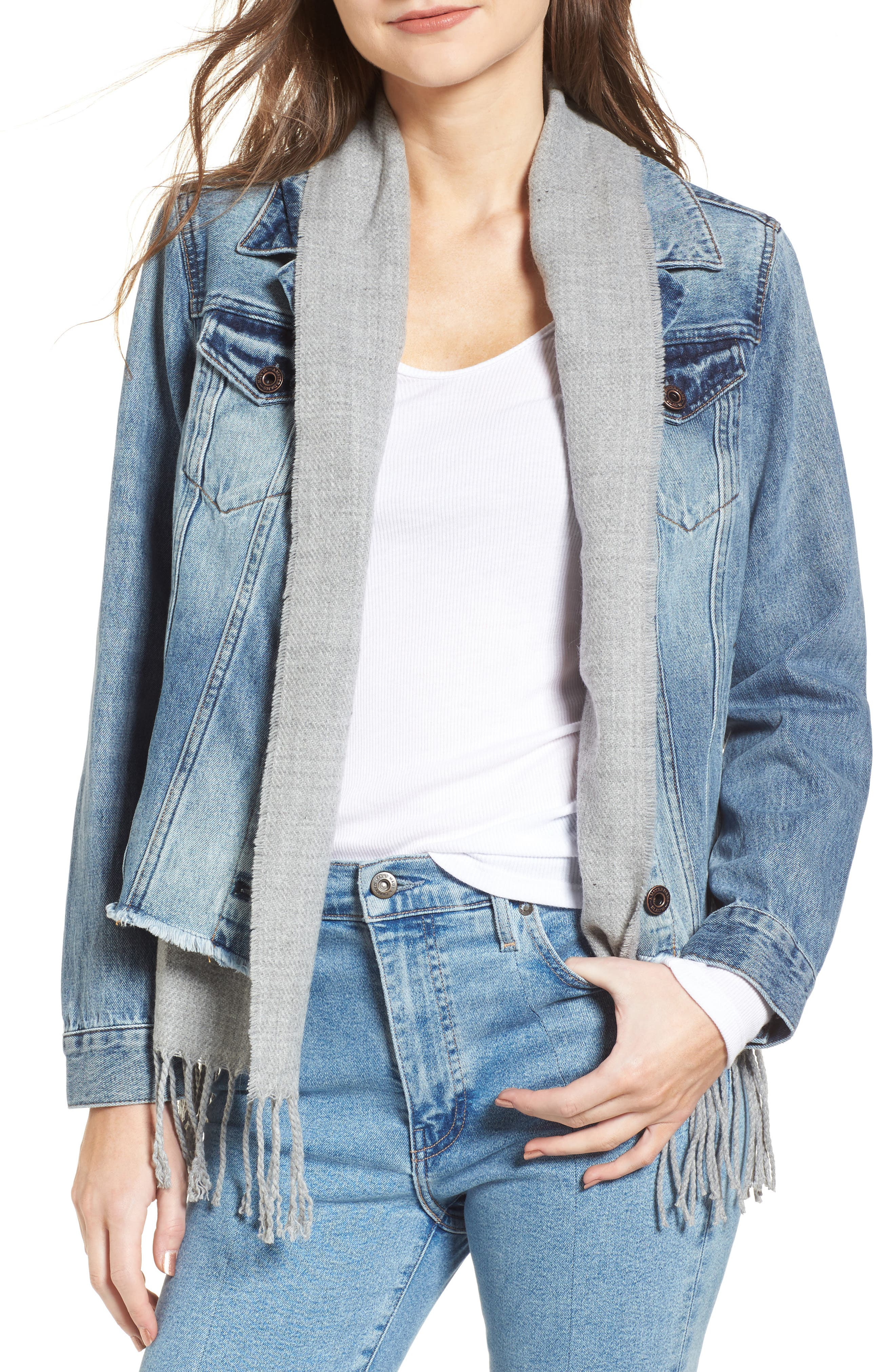 Alternate Image 1 Selected - Scotch & Soda Denim Trucker Jacket with Removable Vest