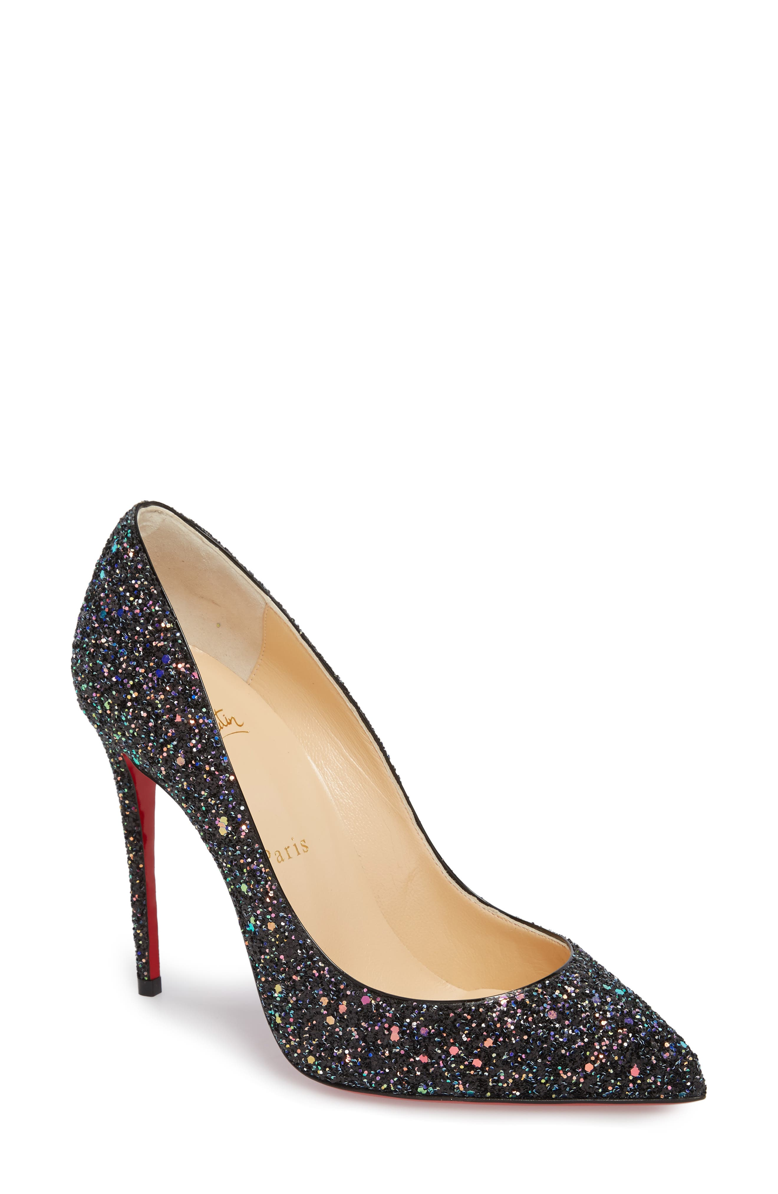 CHRISTIAN LOUBOUTIN PIGALLE FOLLIES GLITTER POINTY TOE PUMP, BLACK