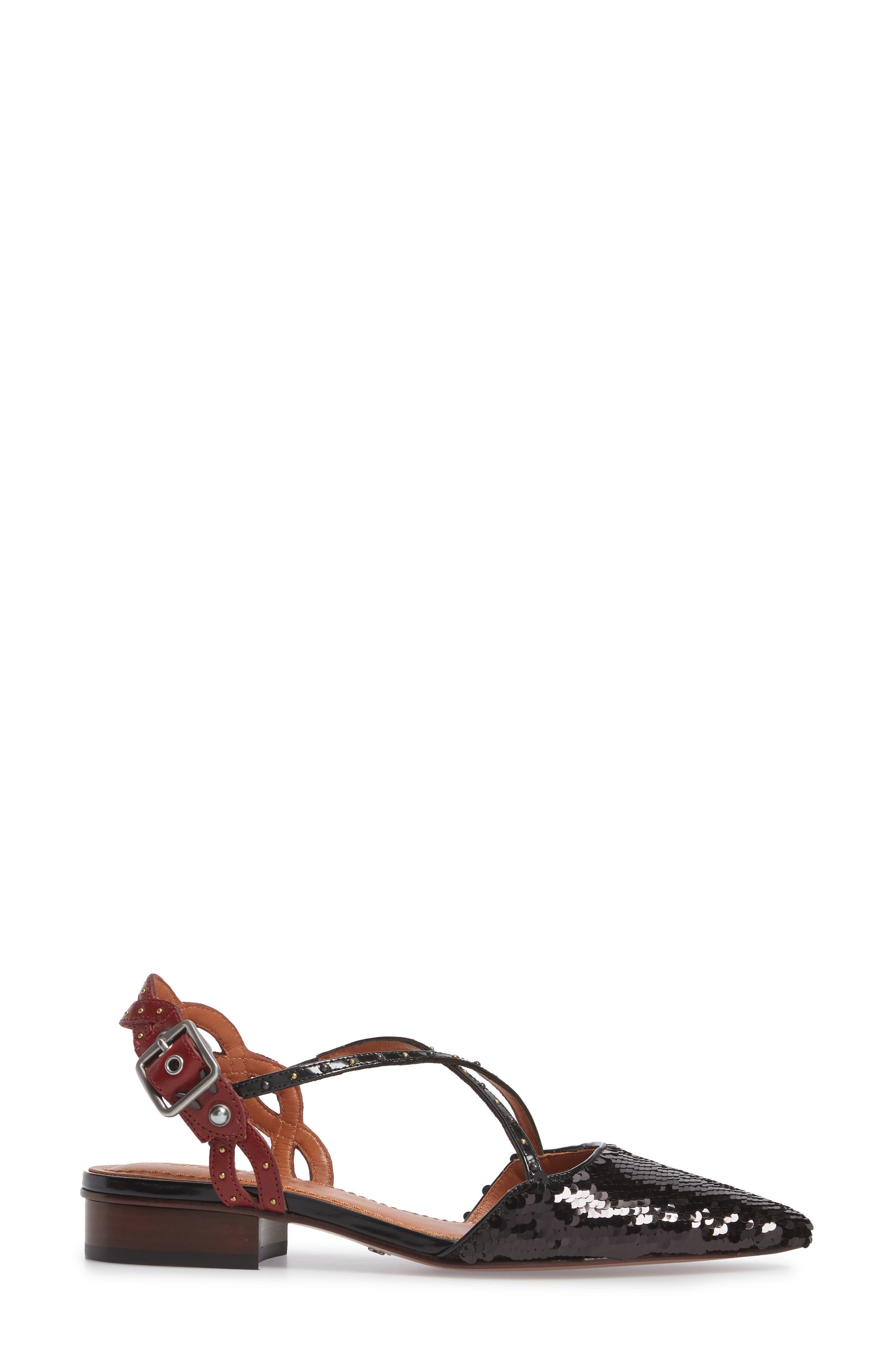 Sequin Slingback Flat,                             Alternate thumbnail 3, color,                             Black/ Wine Leather