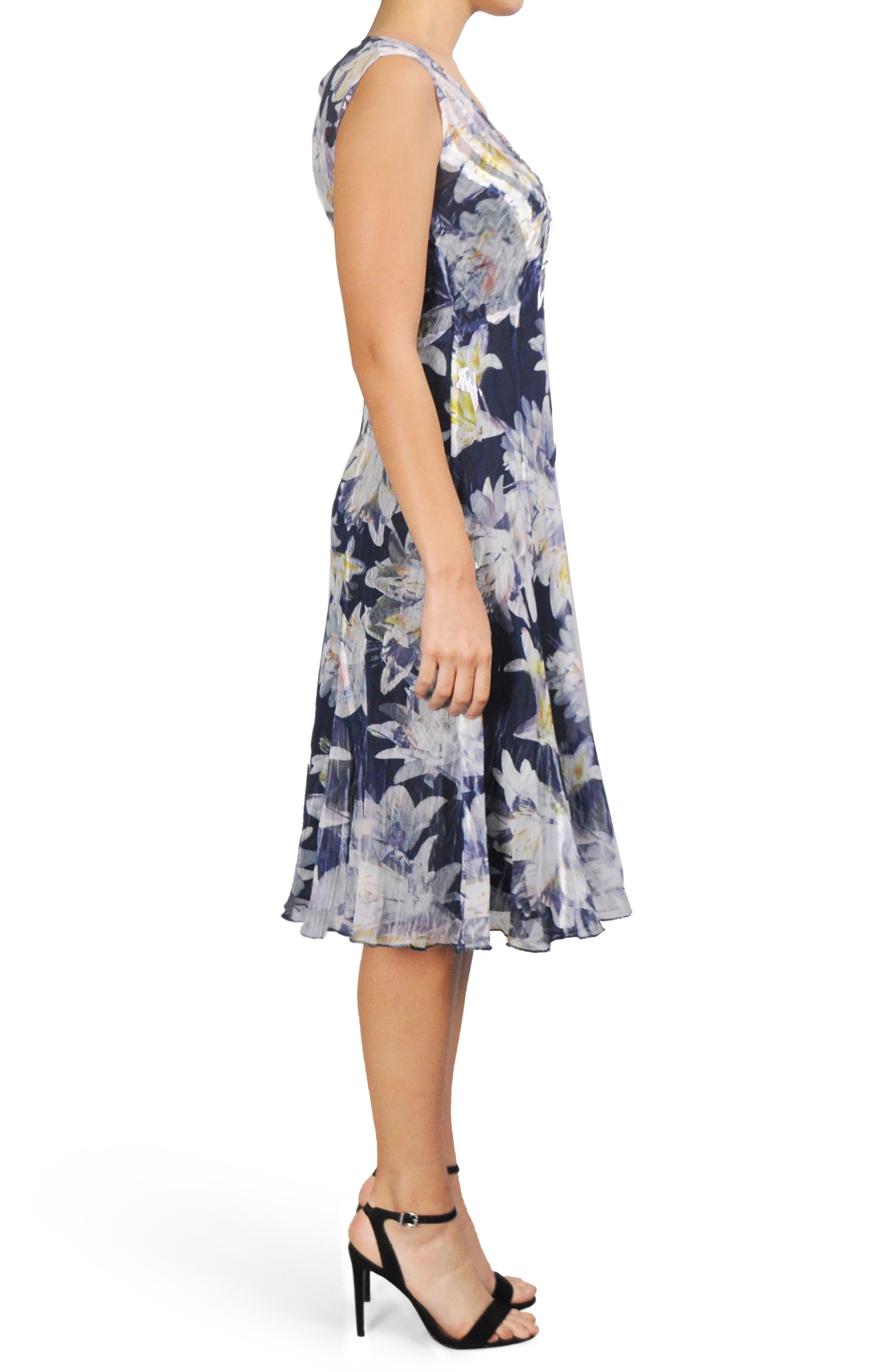 Alternate Image 3  - Komarov Floral Chiffon A-Line Dress (Regular & Petite)