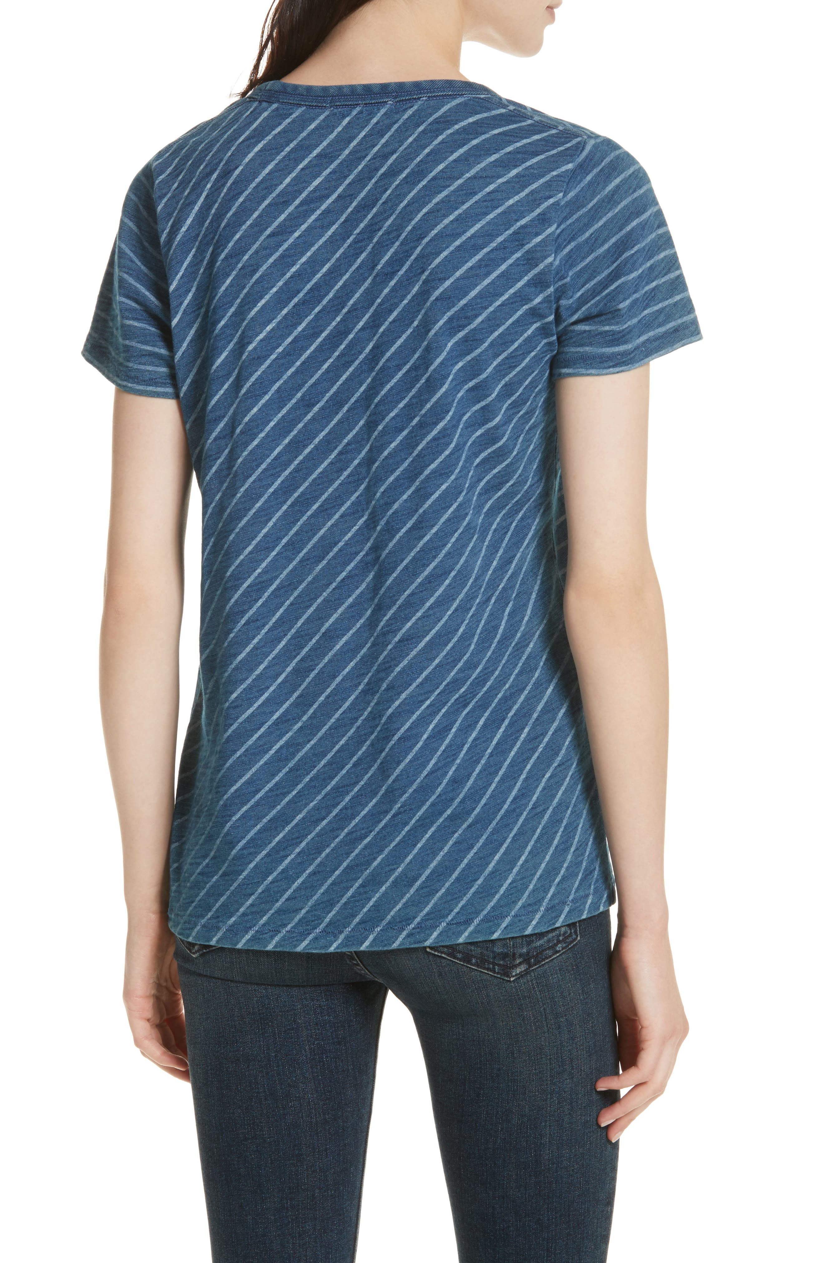 The Vee Indigo Bleach Stripe Tee,                             Alternate thumbnail 2, color,                             Indigo Stripe