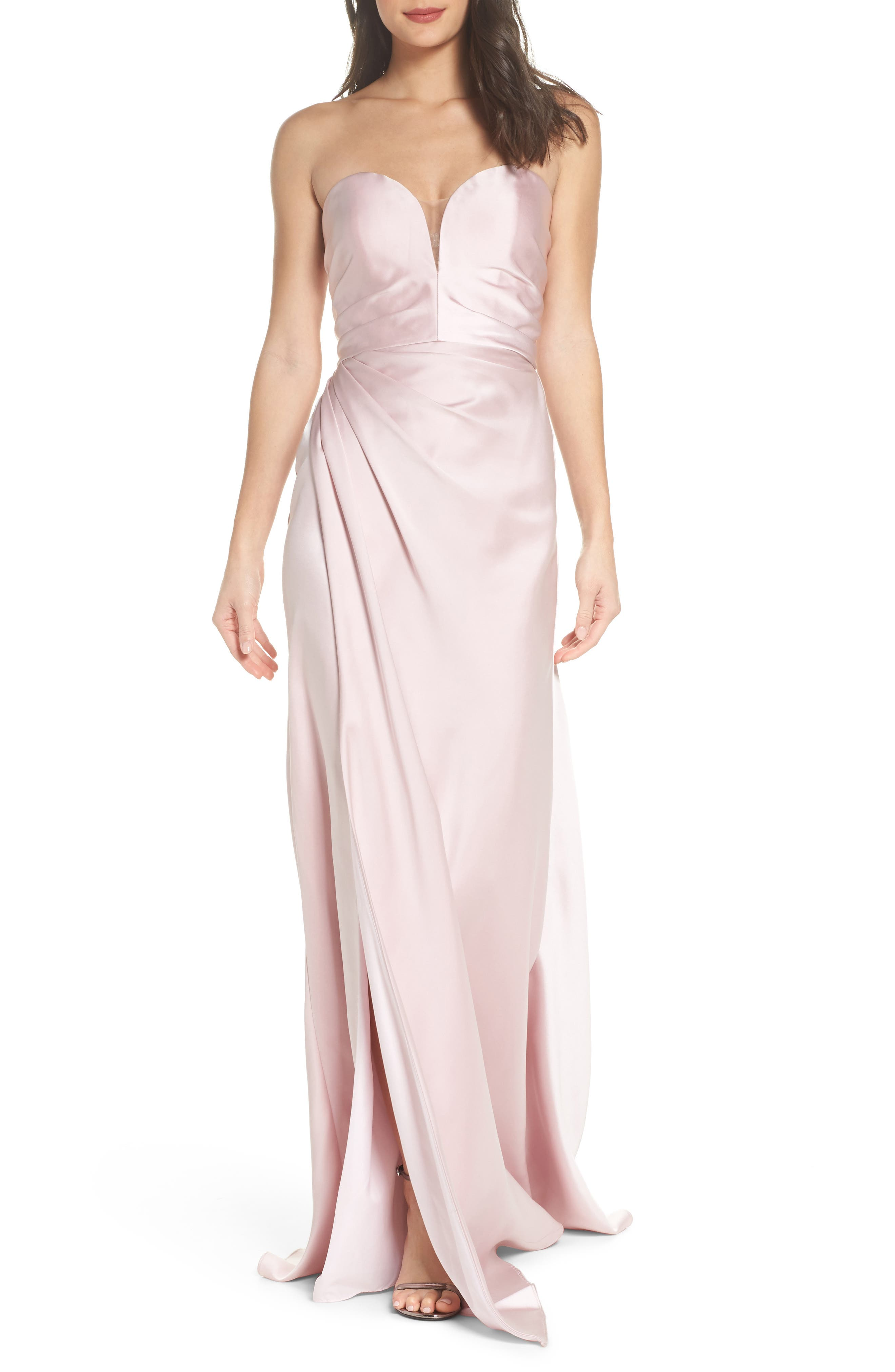 Gathered Strapless Satin Gown,                             Main thumbnail 1, color,                             Blush