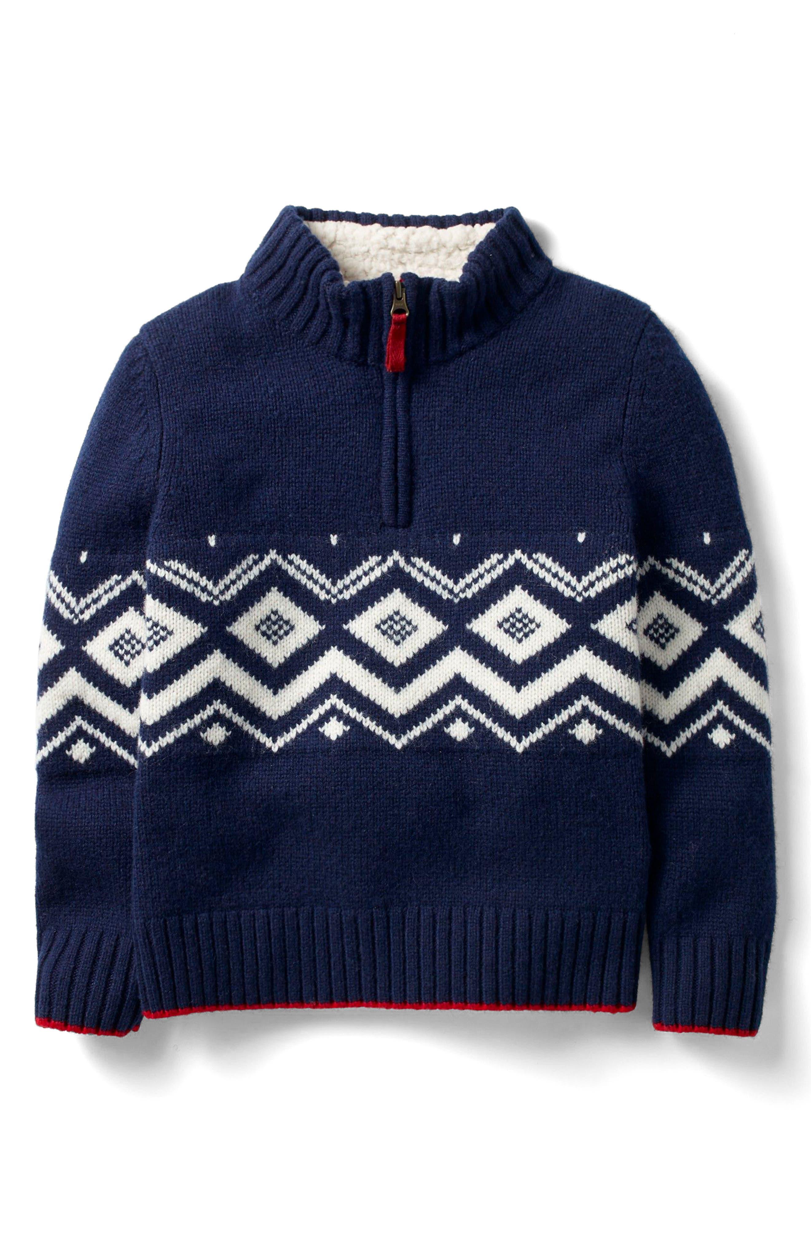 Mini Boden Quarter-Zip Pullover Wool Sweater (Toddler Boys, Little Boys & Big Boys)