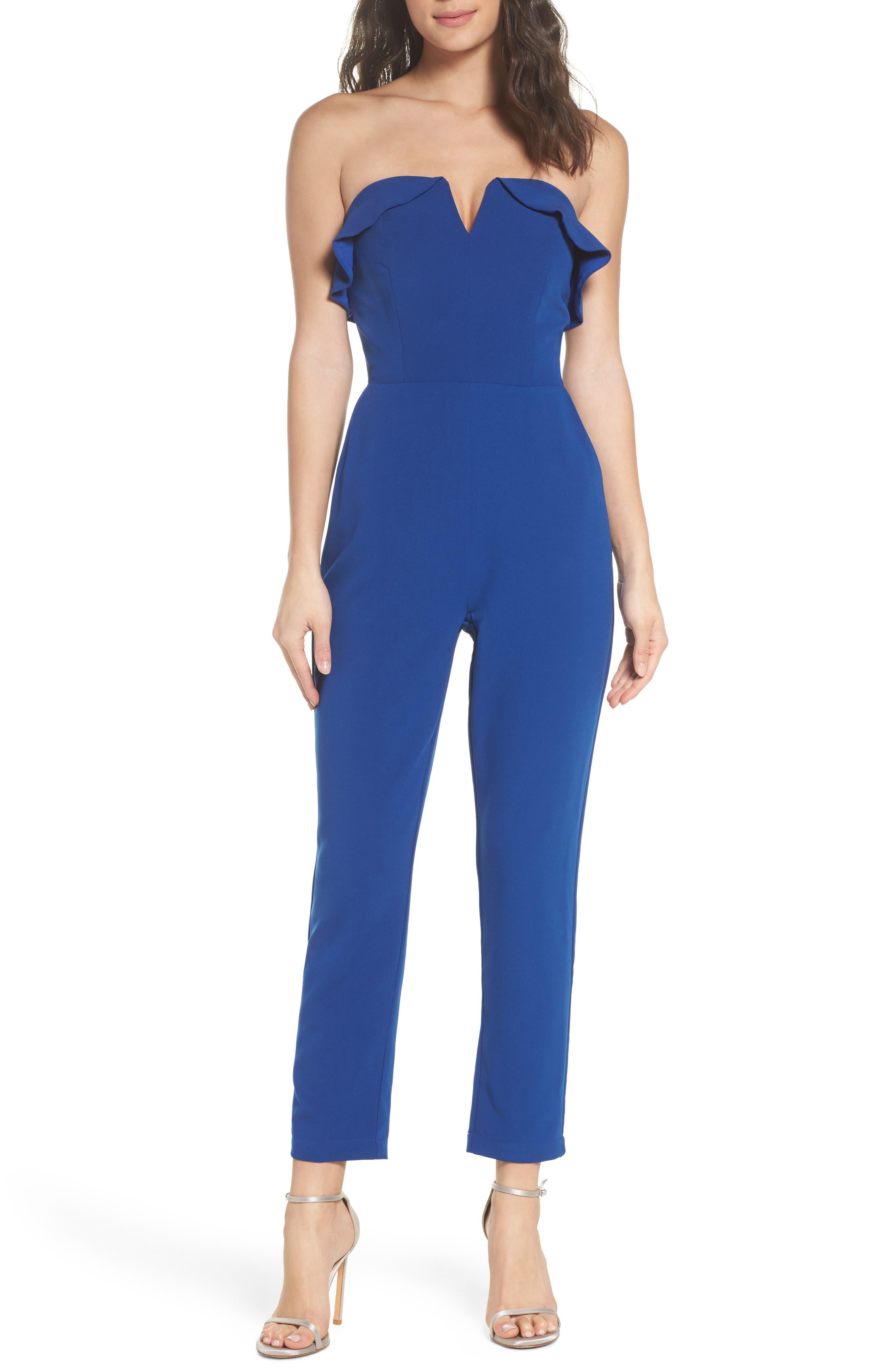 Penny Strapless Jumpsuit,                         Main,                         color, Blue