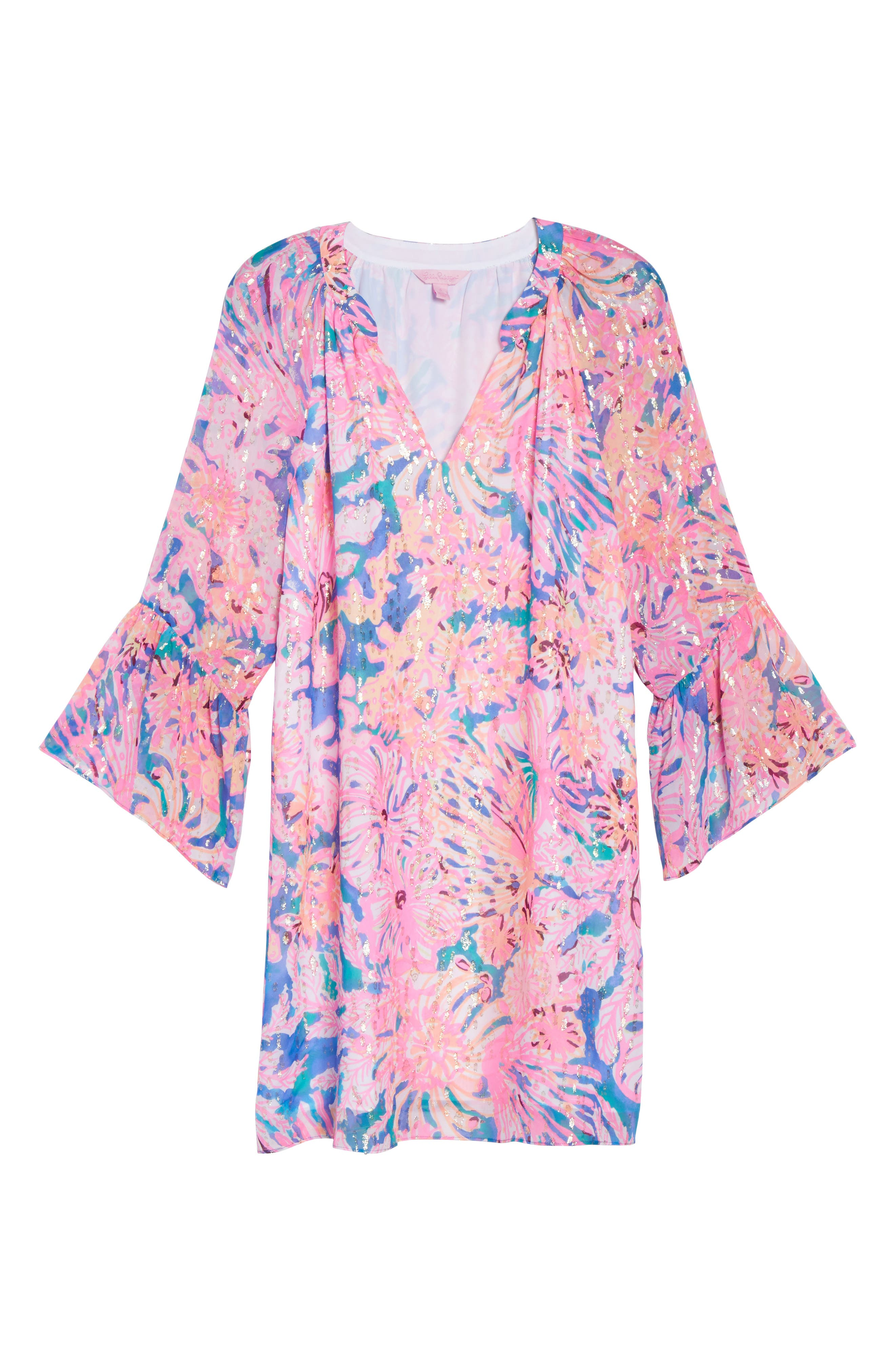Matilda Tunic Dress,                             Alternate thumbnail 6, color,                             Multi Swirling Seadream