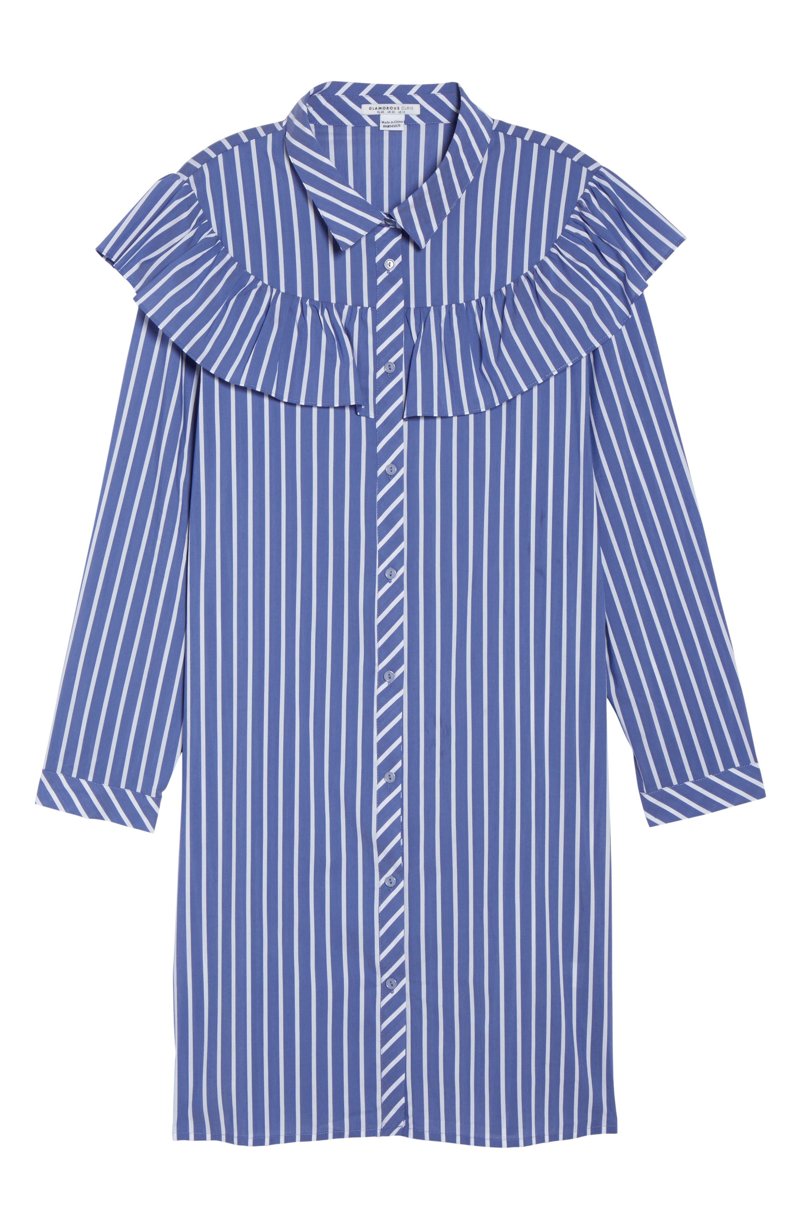 Ruffle Stripe Shirtdress,                             Alternate thumbnail 6, color,                             Blue White Stripe