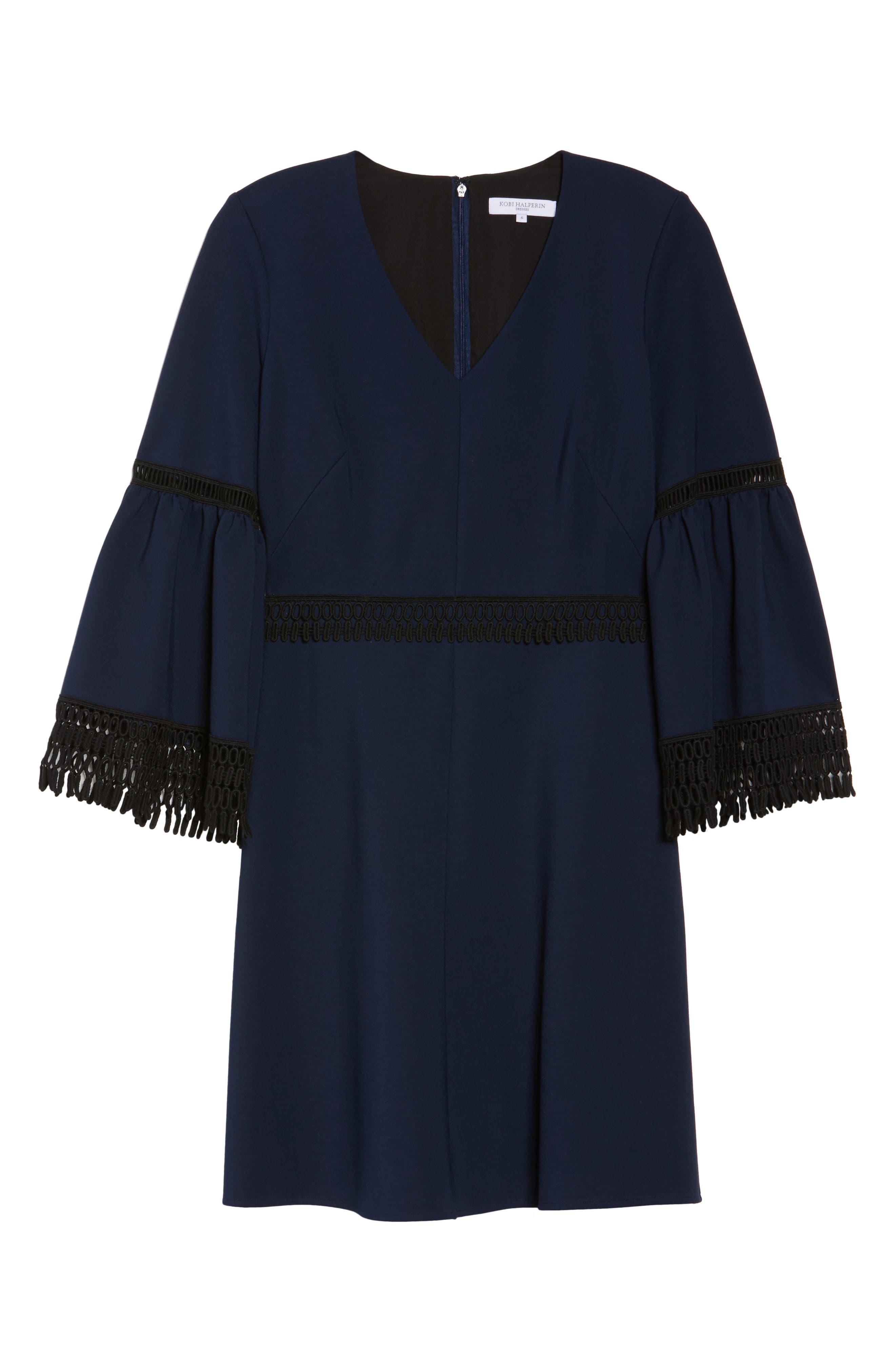 Vanessa Bell Sleeve Dress,                             Main thumbnail 1, color,                             Midnight Blue/ Black