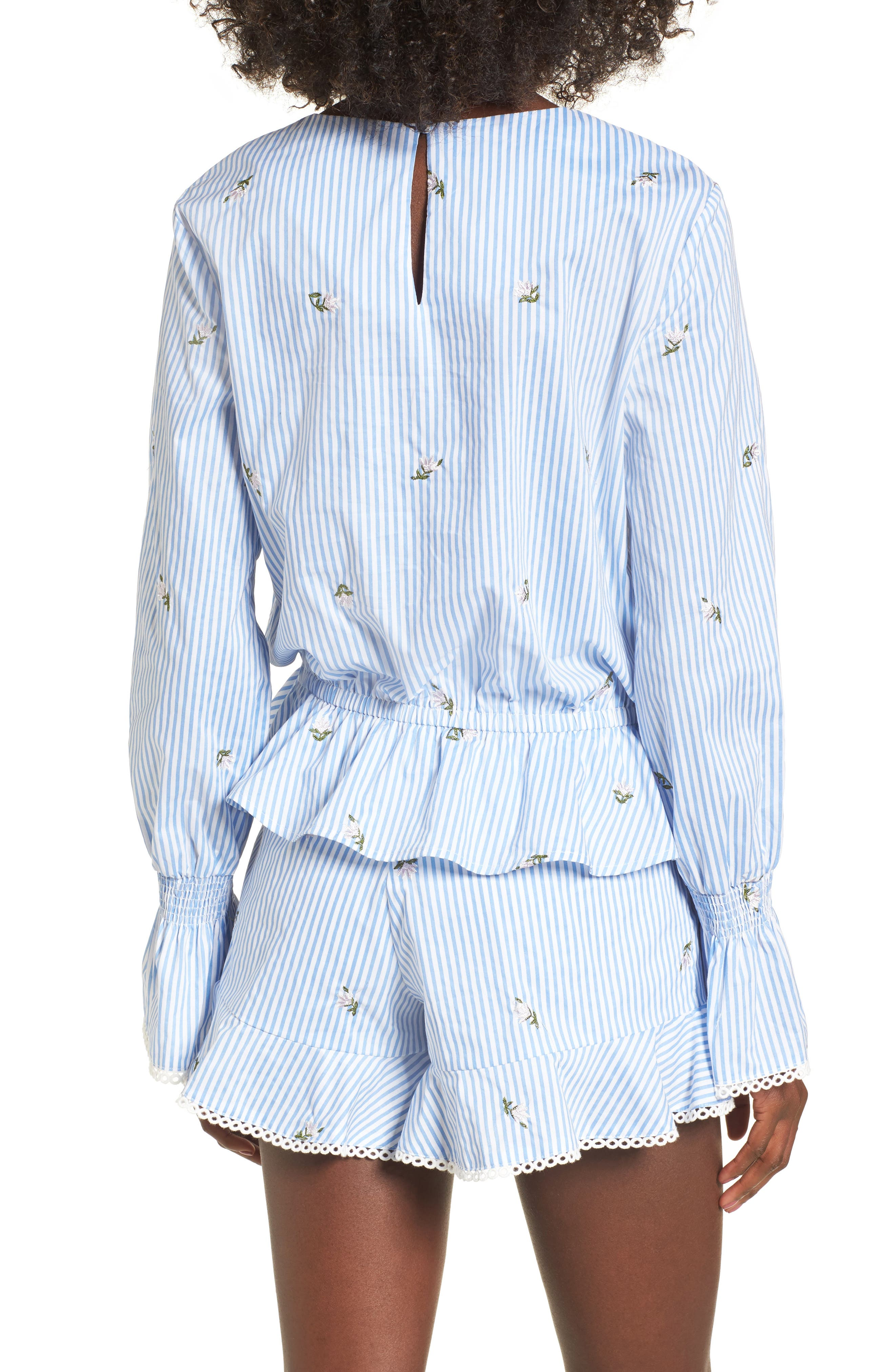 Embroidered Peplum Top,                             Alternate thumbnail 2, color,                             Blue/ Ivory Stripe