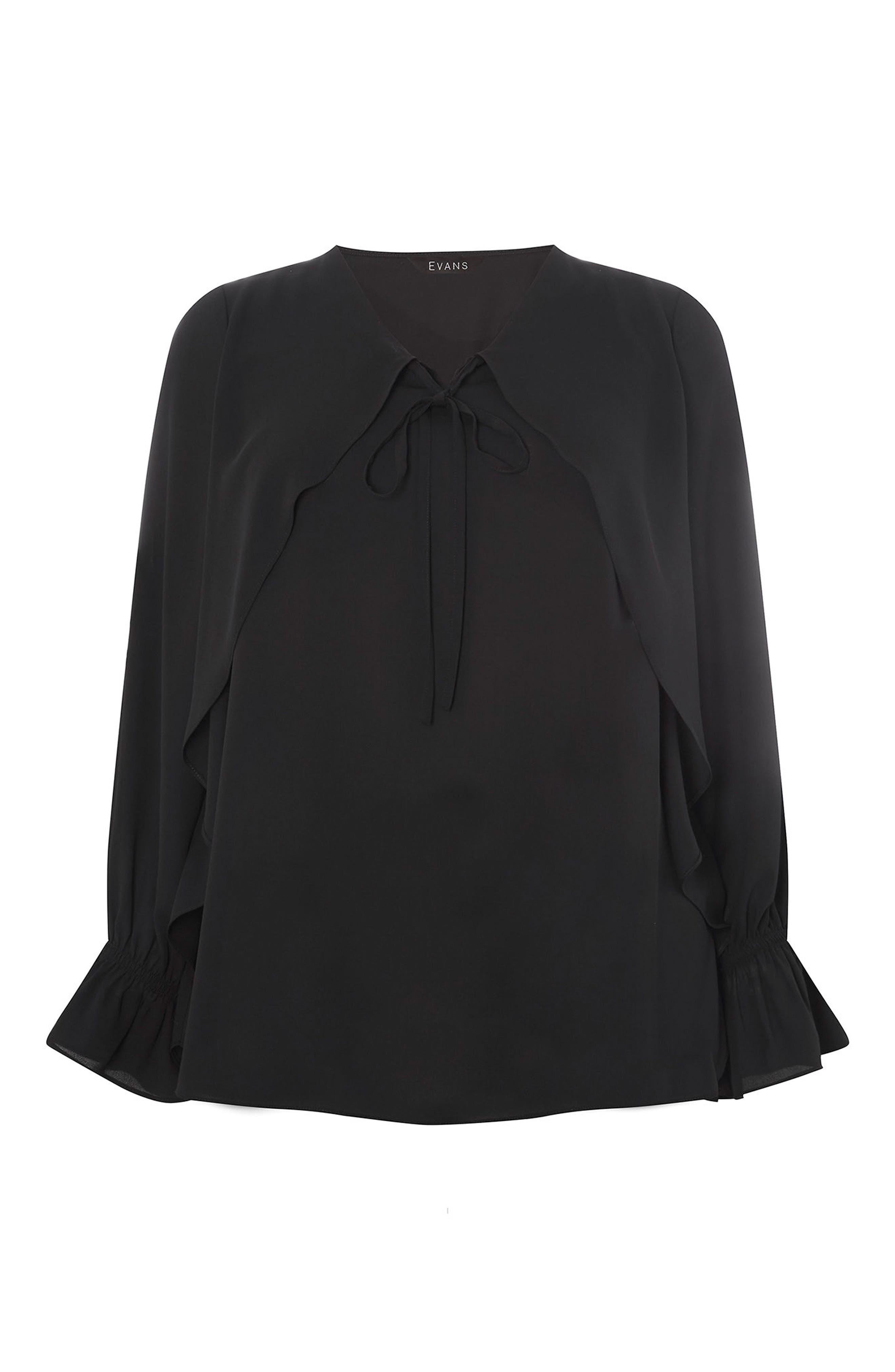 Tie Neck Bell Sleeve Blouse,                             Alternate thumbnail 5, color,                             Black