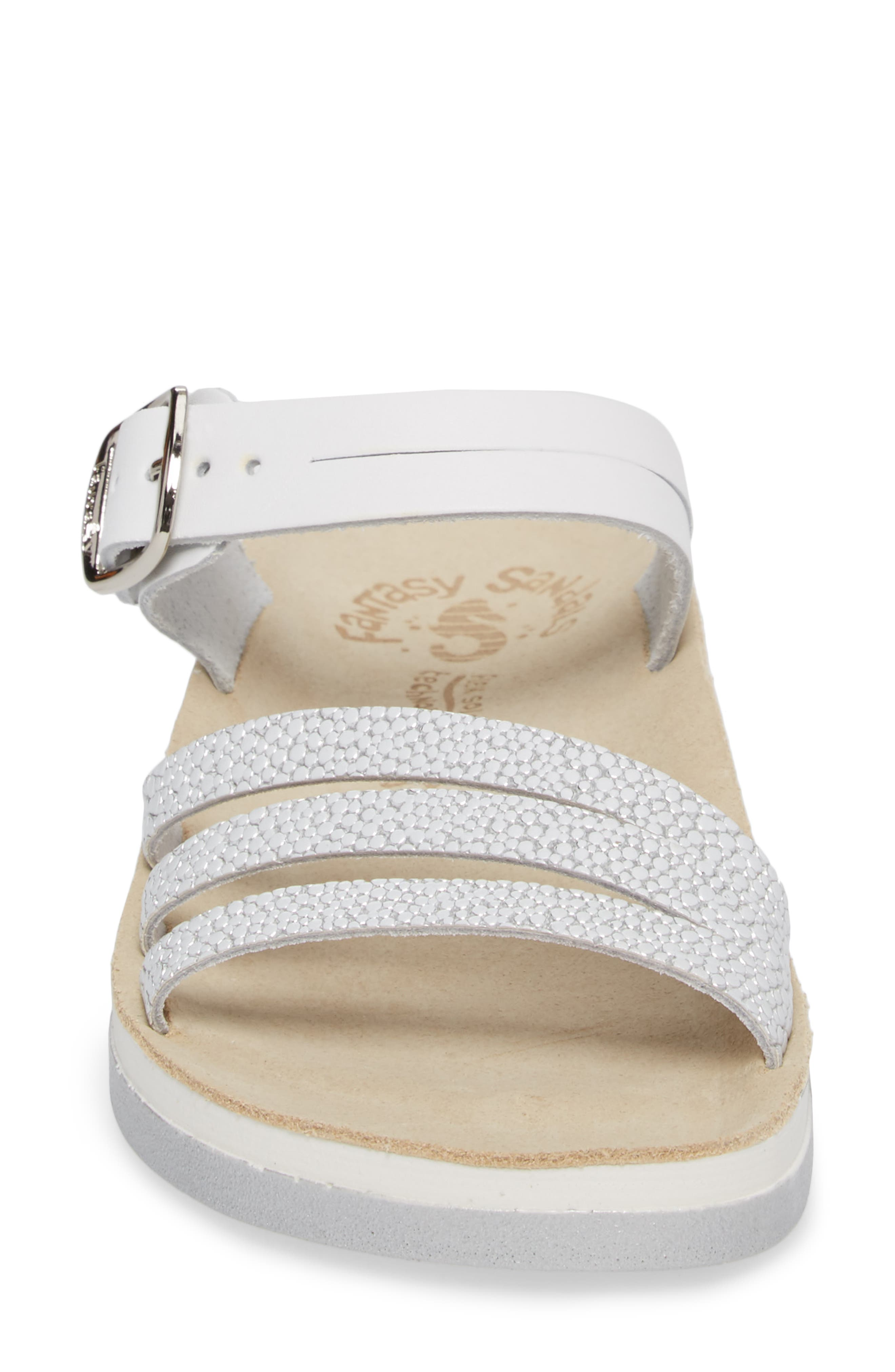 Lola Sandal,                             Alternate thumbnail 4, color,                             White/ Silver Leather