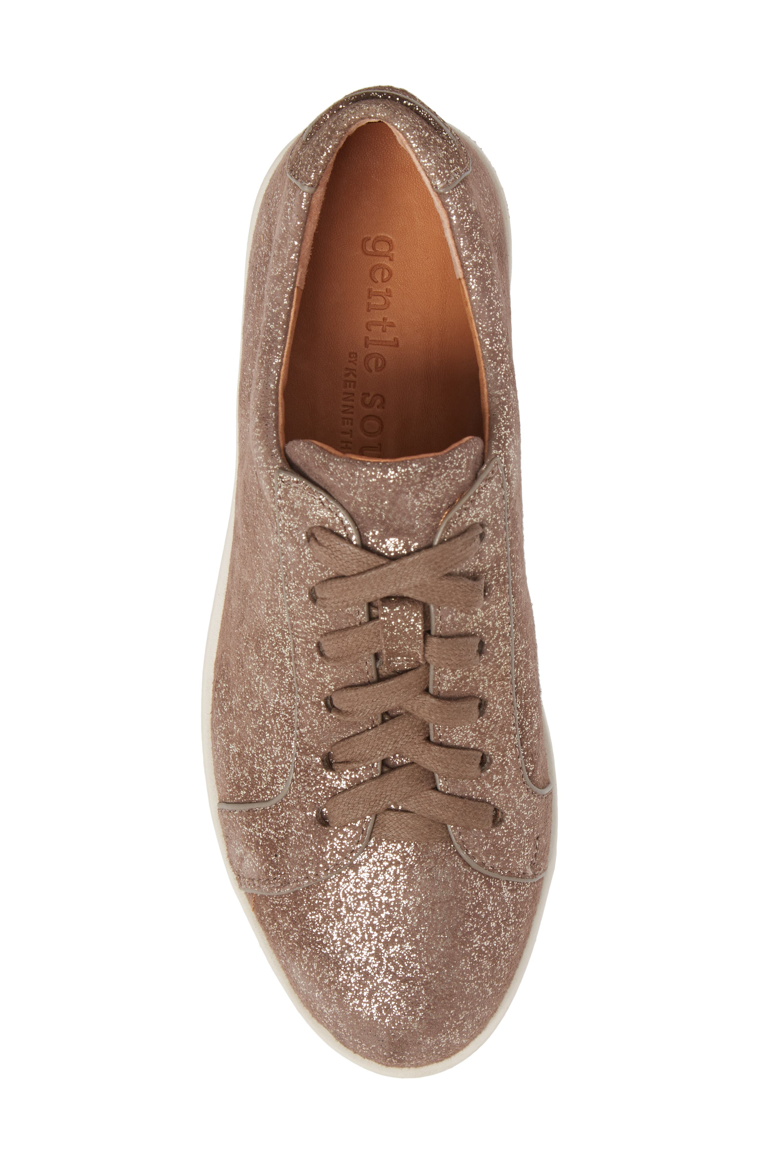 by Kenneth Cole Haddie Low Platform Sneaker,                             Alternate thumbnail 5, color,                             Cocoa Metallic Leather