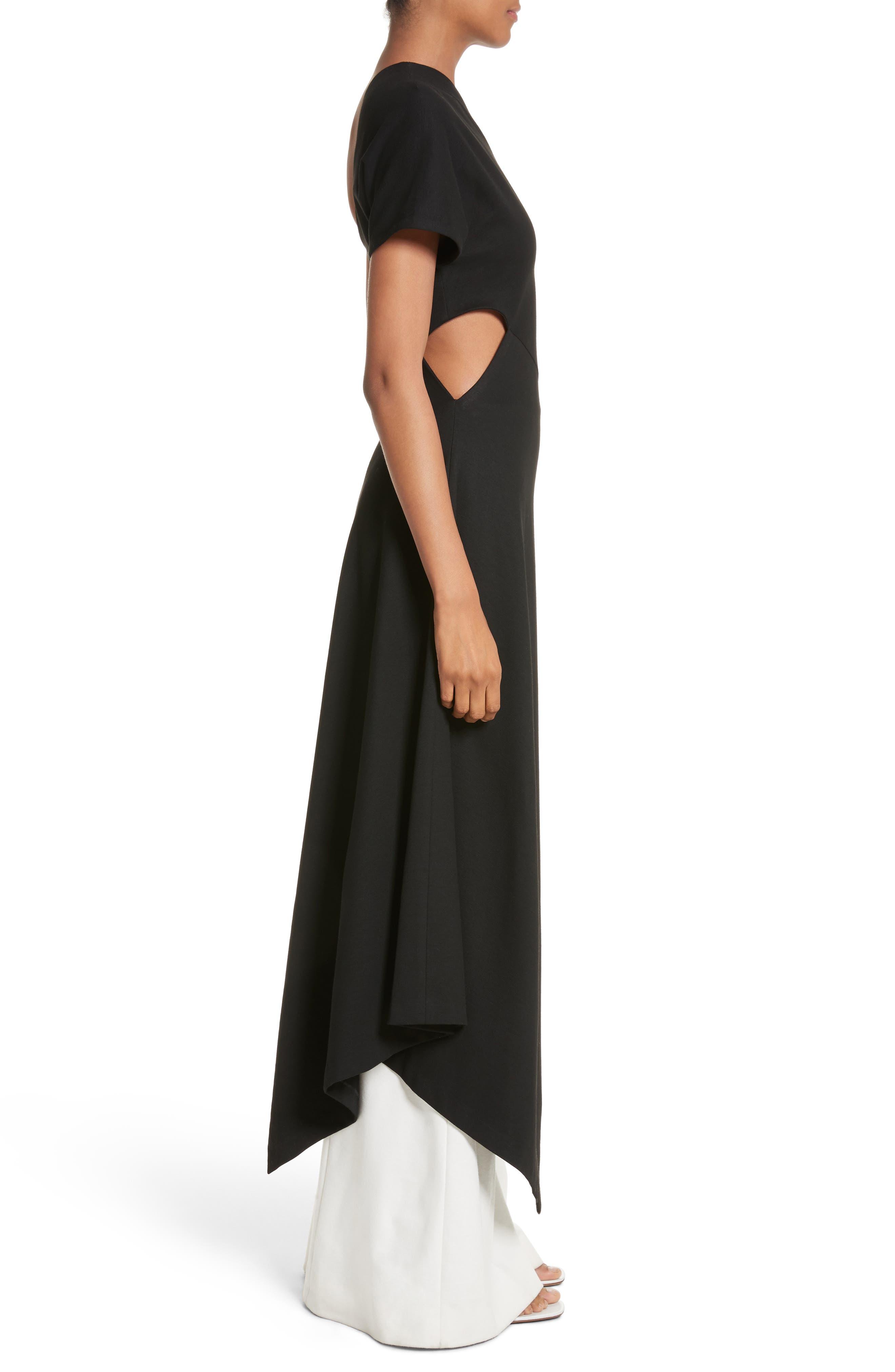 One-Shoulder Asymmetrical Jersey Dress,                             Alternate thumbnail 3, color,                             Black