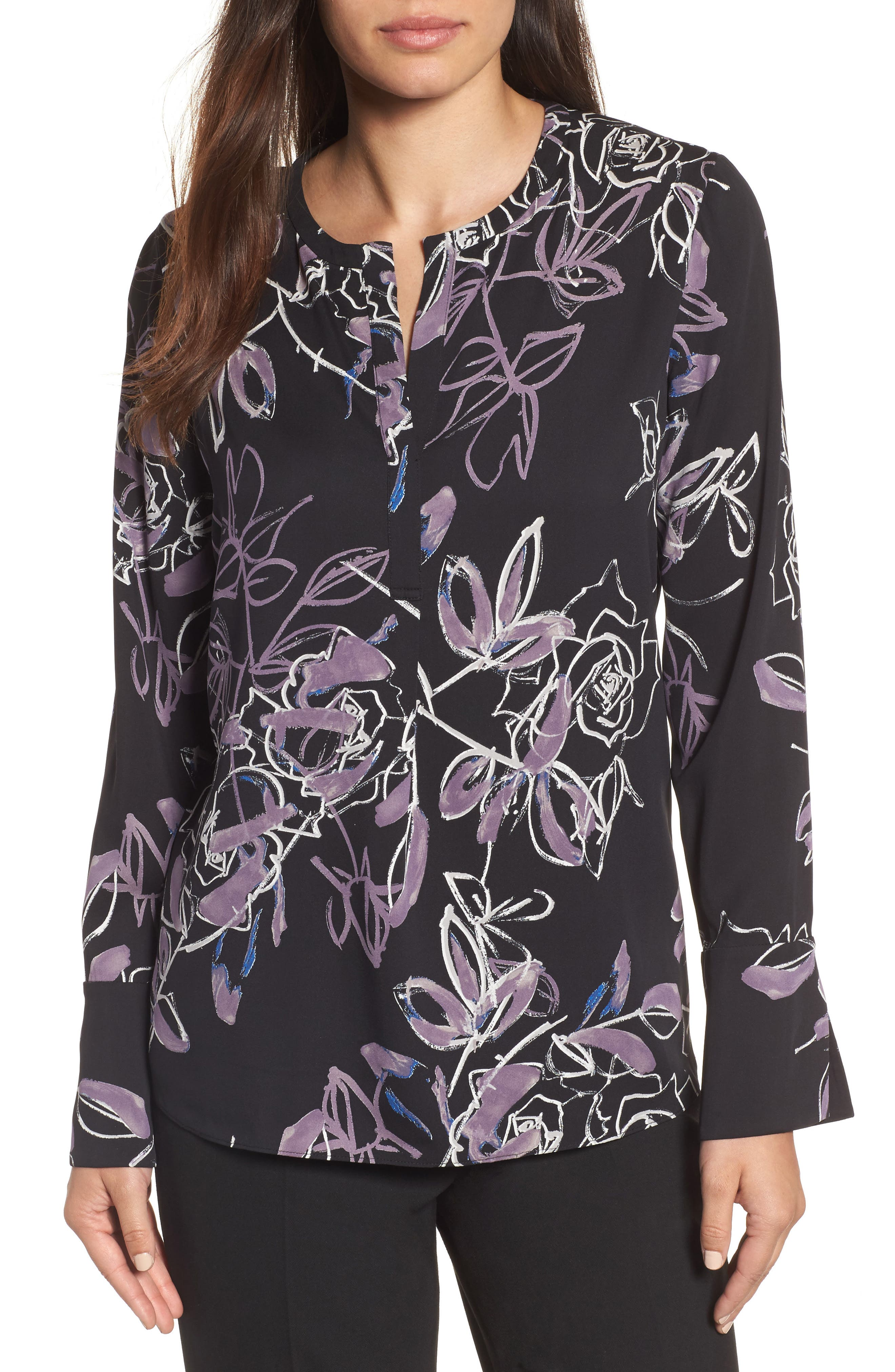 Long Sleeve Print Blouse,                         Main,                         color, Black Roses Print