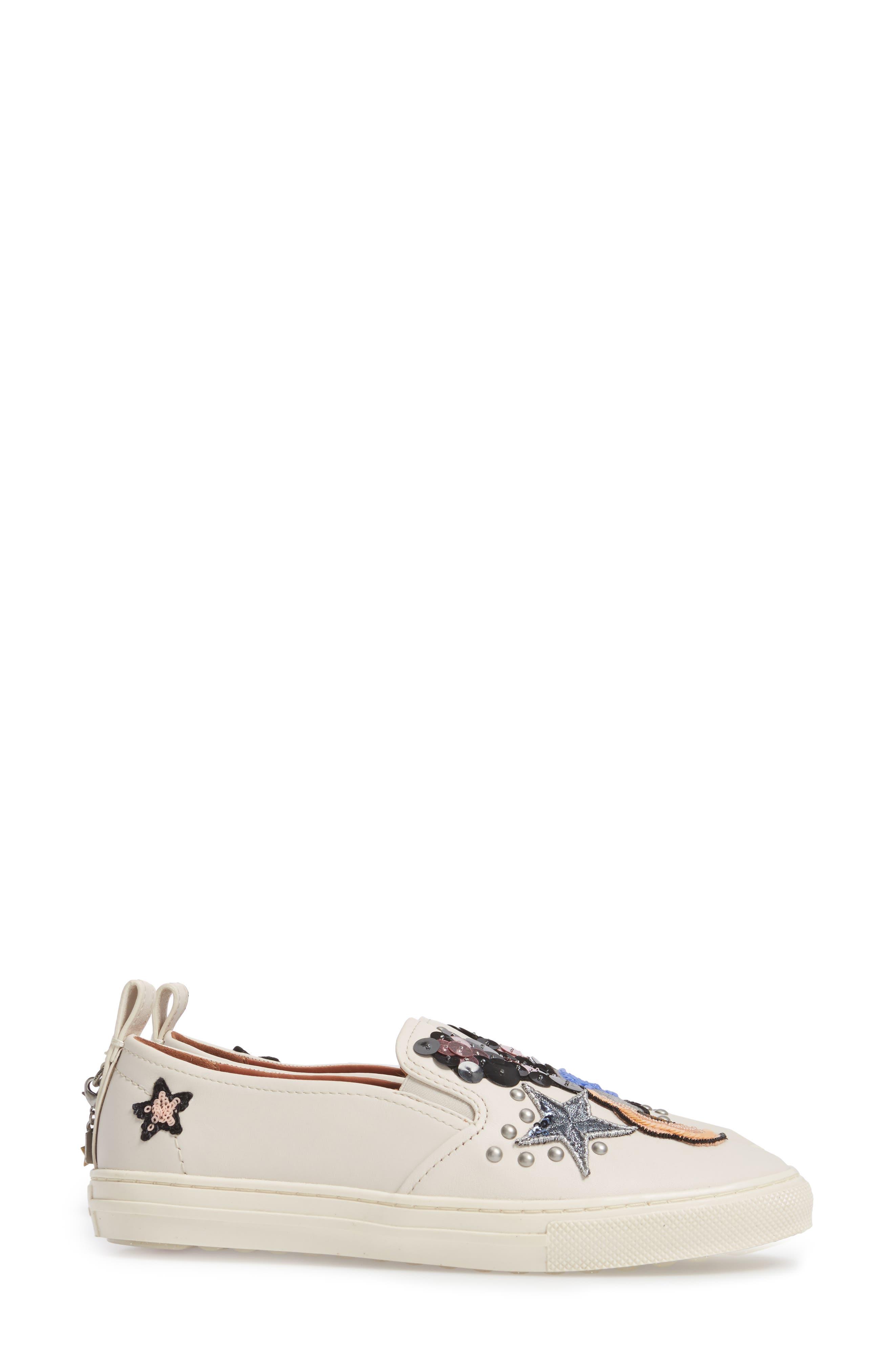Star Patch Slip-On Sneaker,                             Alternate thumbnail 3, color,                             Chalk Leather