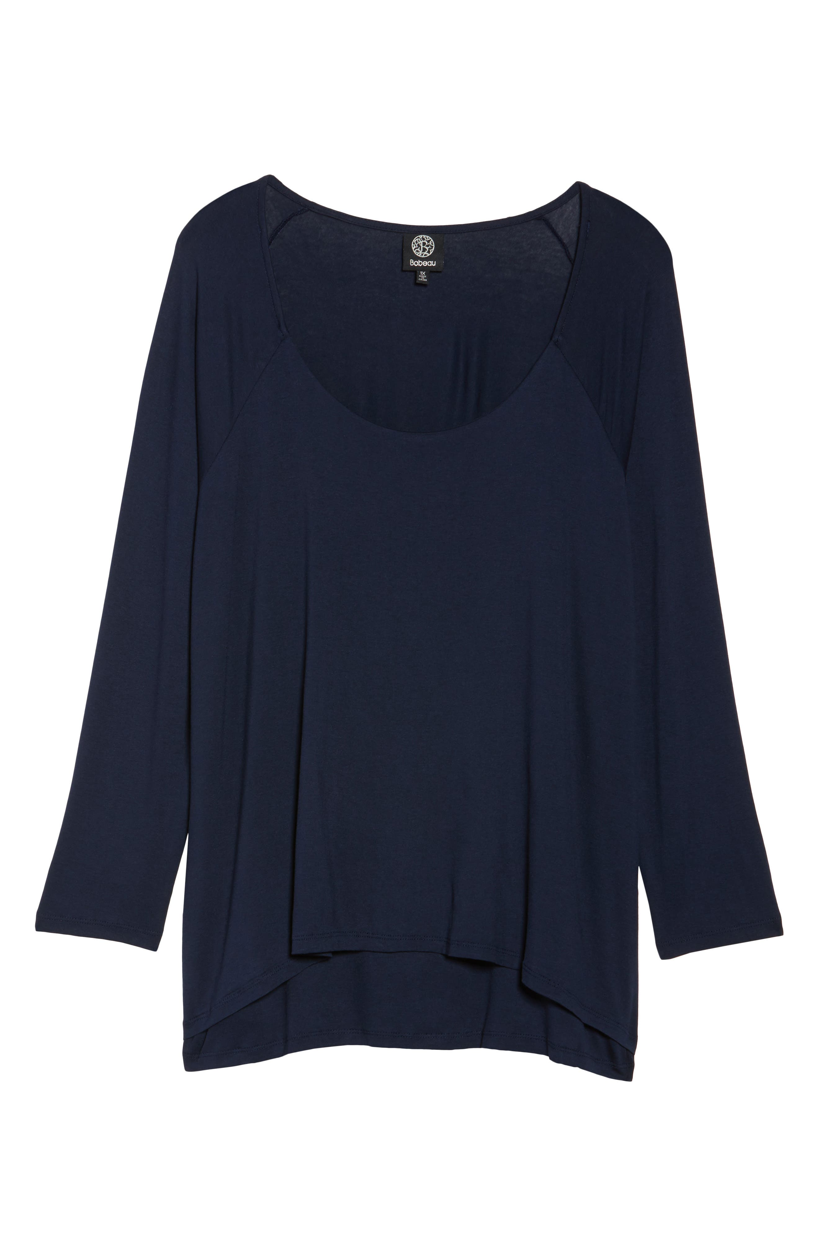 Layered Knit Top,                             Alternate thumbnail 6, color,                             Navy