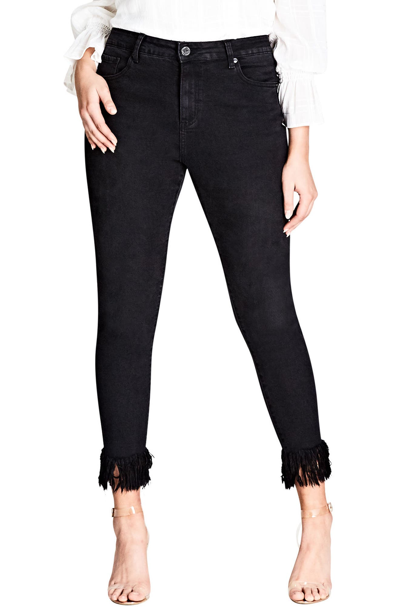 Jean Harley Overfrayed Hem Skinny Jeans,                             Main thumbnail 1, color,                             Black