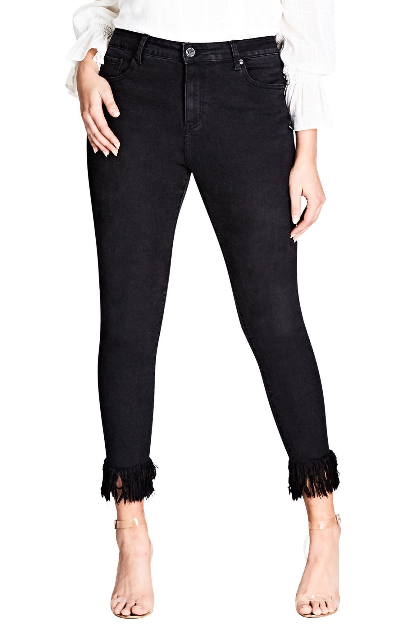 Jean Harley Overfrayed Hem Skinny Jeans,                         Main,                         color, Black