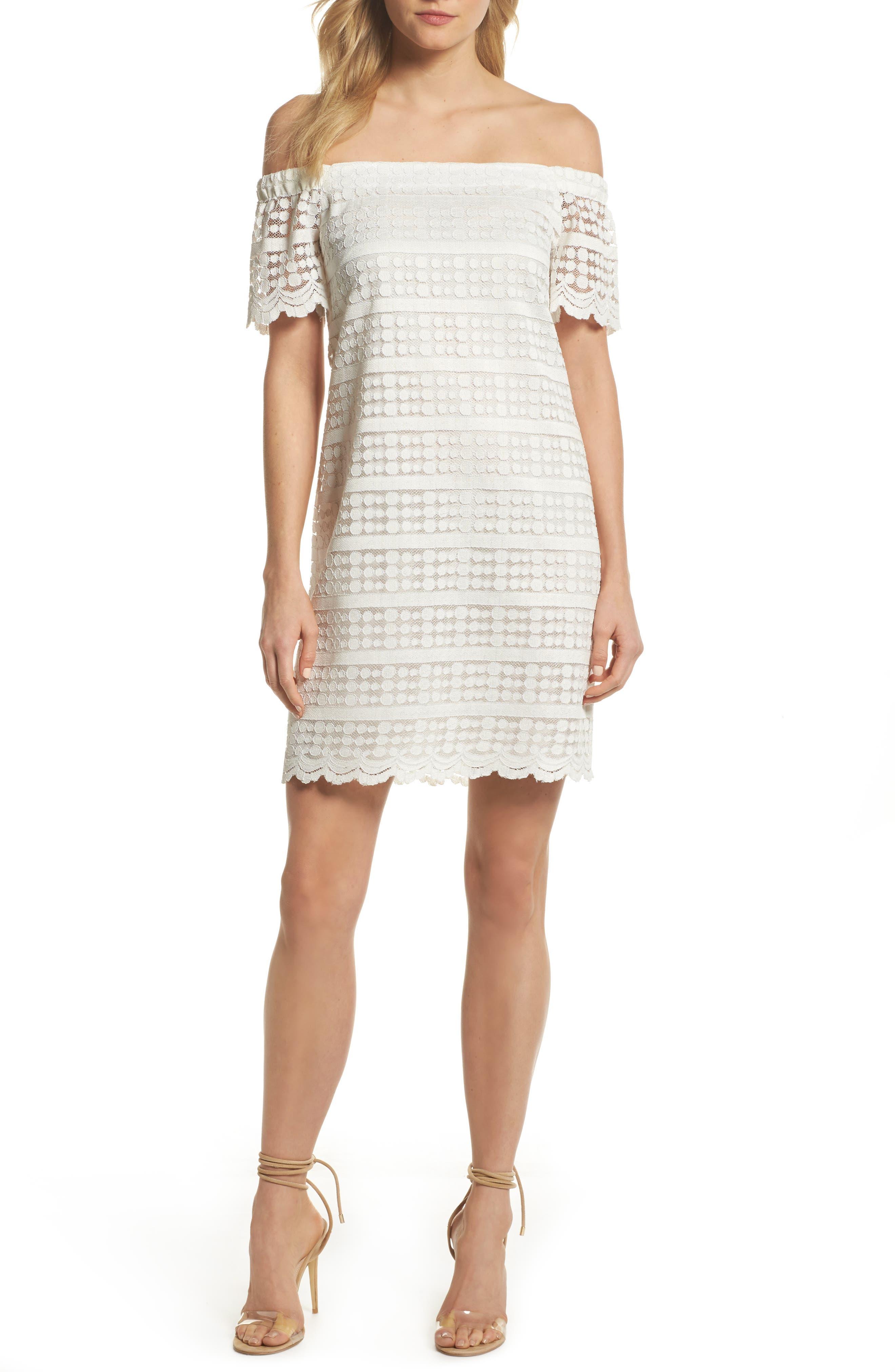 Merengue Off the Shoulder Minidress,                         Main,                         color, White
