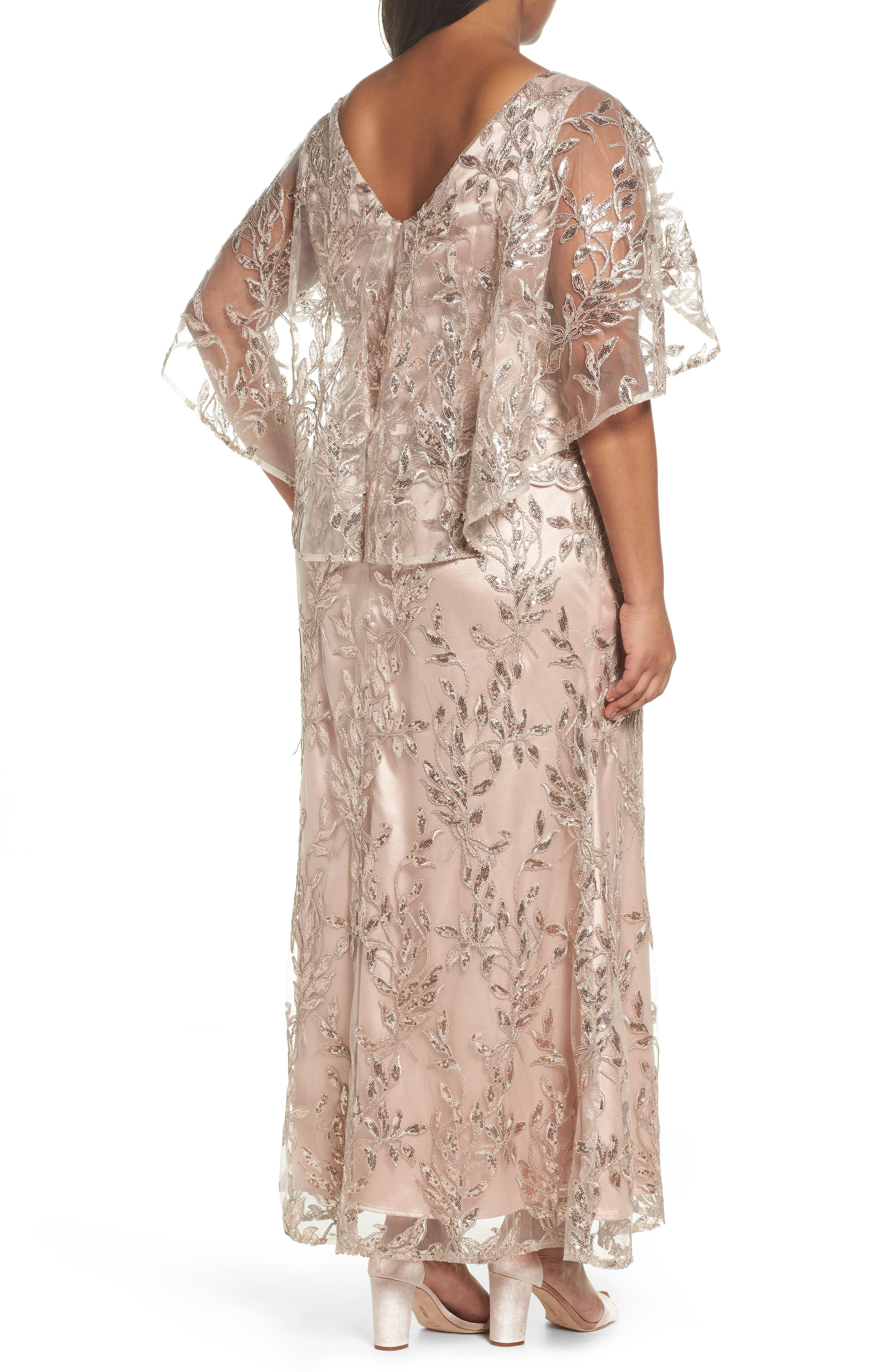 Sequin Embroidered Capelet Gown,                             Alternate thumbnail 2, color,                             Latte