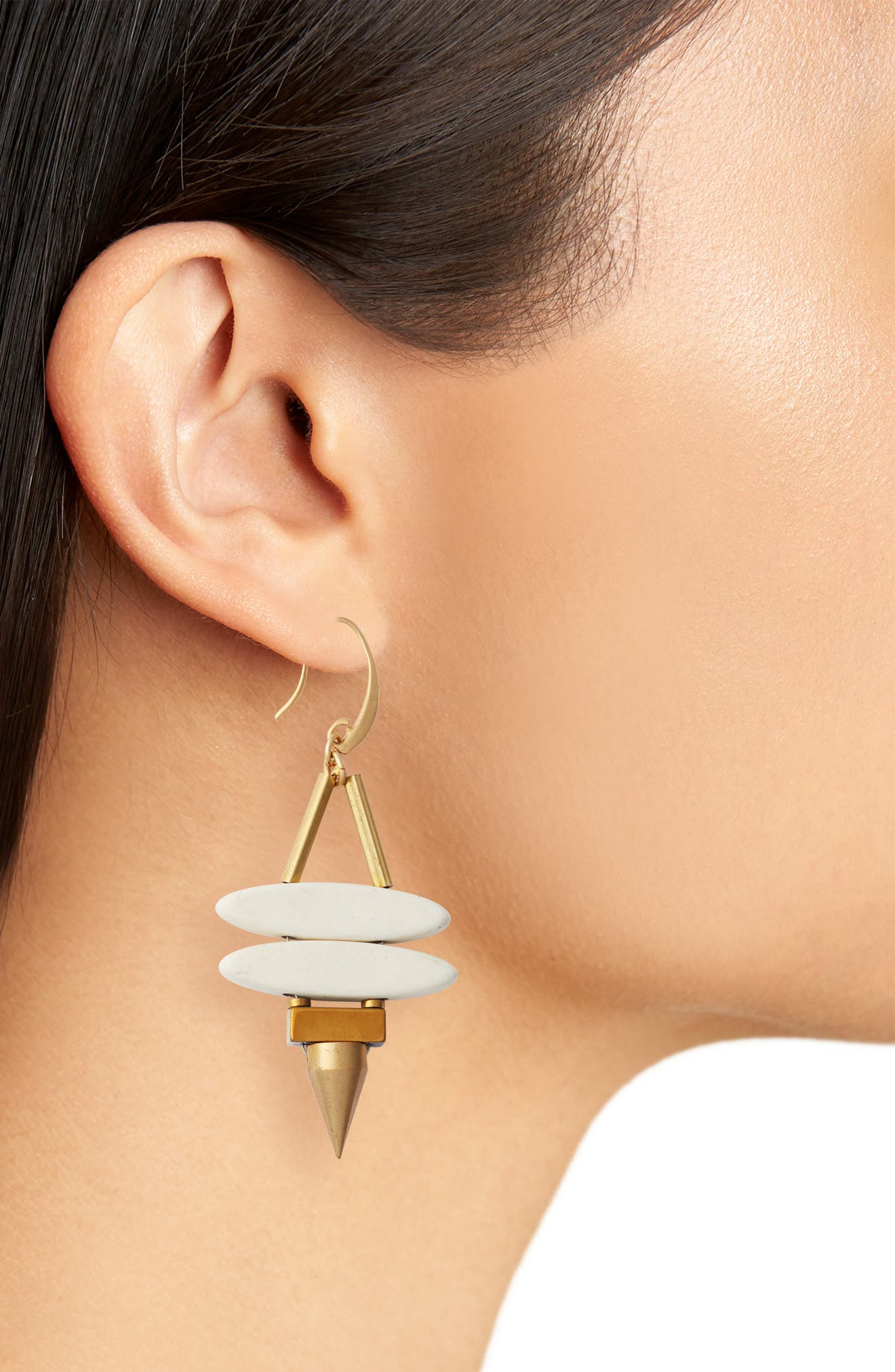Sahara Spike Drop Earrings,                             Alternate thumbnail 2, color,                             White/ Gold